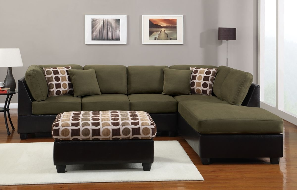 Sectional Sofa 3 Pcs Sectional Couch In Microfiber Sectional Sofas Within 2018 Green Sectional Sofas With Chaise (View 14 of 15)