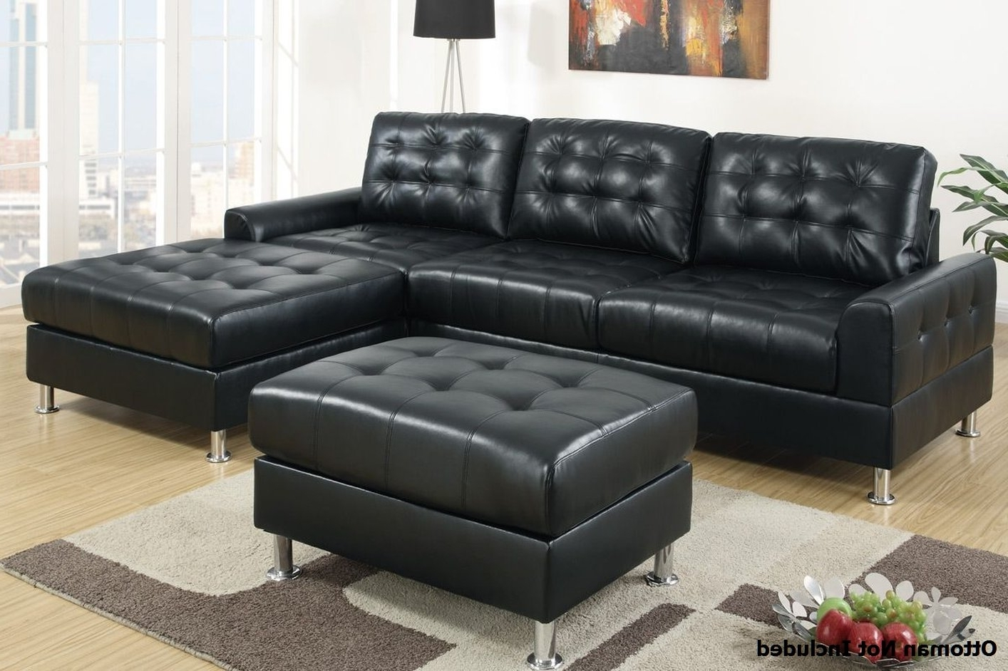 Sectional Sofa Design: Comfrotable Black Leather Sectional Sof Within Well Known Black Leather Sectionals With Ottoman (View 5 of 15)