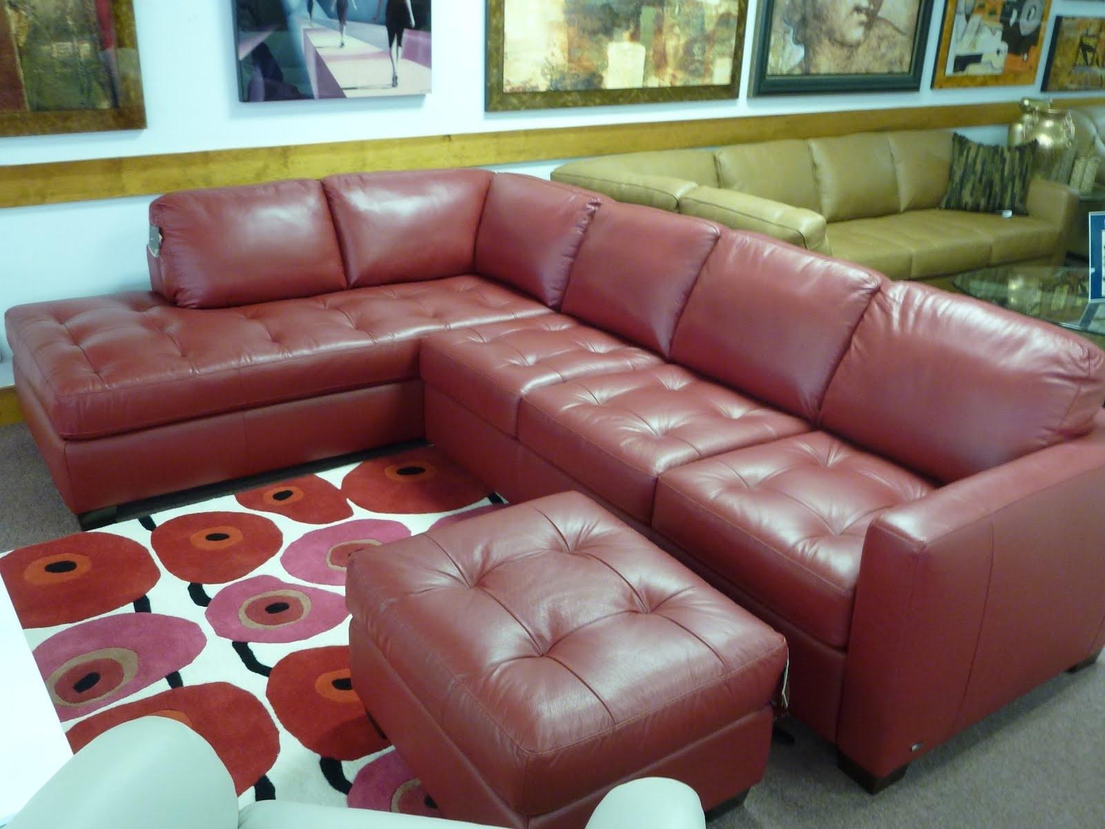 Sectional Sofa Design: Wonderful Natuzzi Leather Sectional Sofa Within Fashionable Red Leather Sectionals With Ottoman (View 13 of 15)