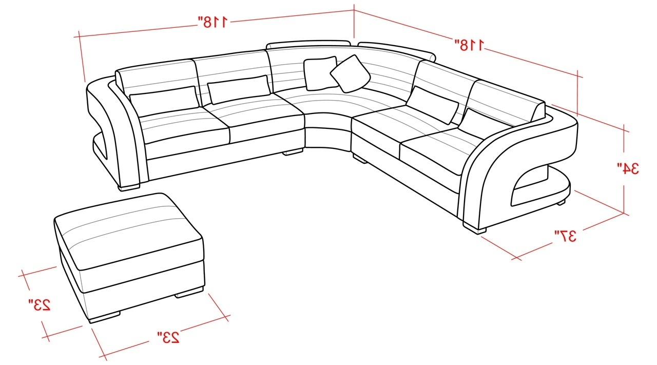 Sectional Sofa Sizes And Cool Contemporary Leather Sectional Sofa  From Opulent Items Ihso01284 17 With Regard To Most Up To Date Measurements Sectional Sofas (View 12 of 15)