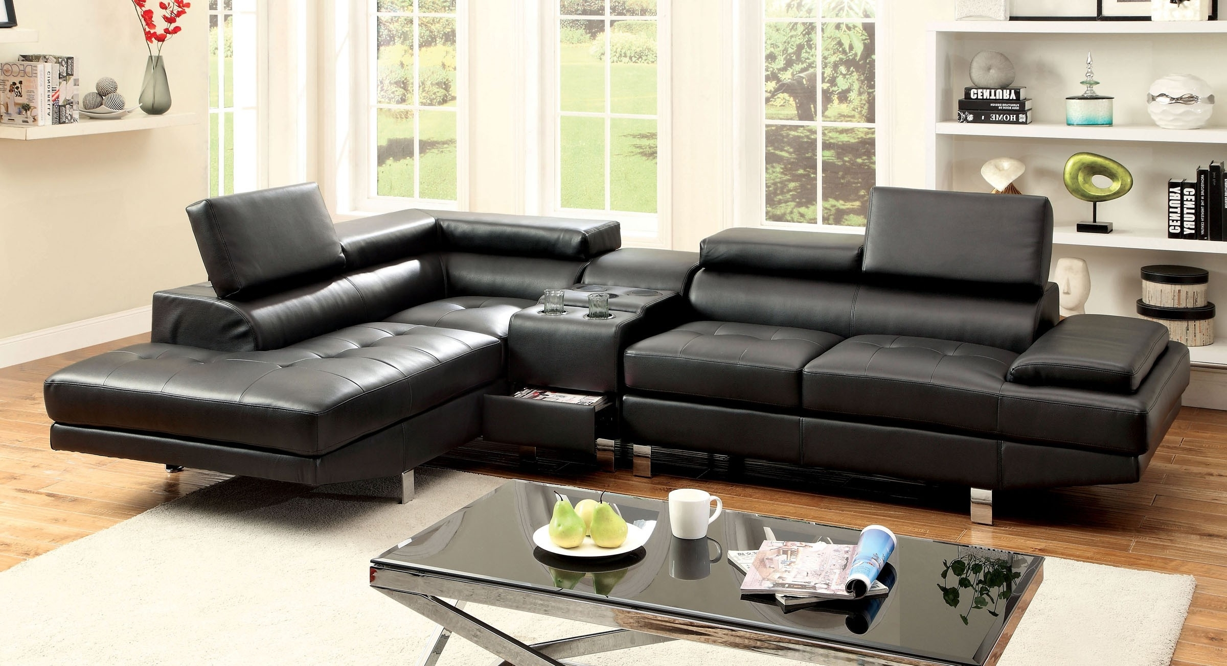 Sectional Sofa W/ Speaker Console (Cm6833Bk ) (View 8 of 15)