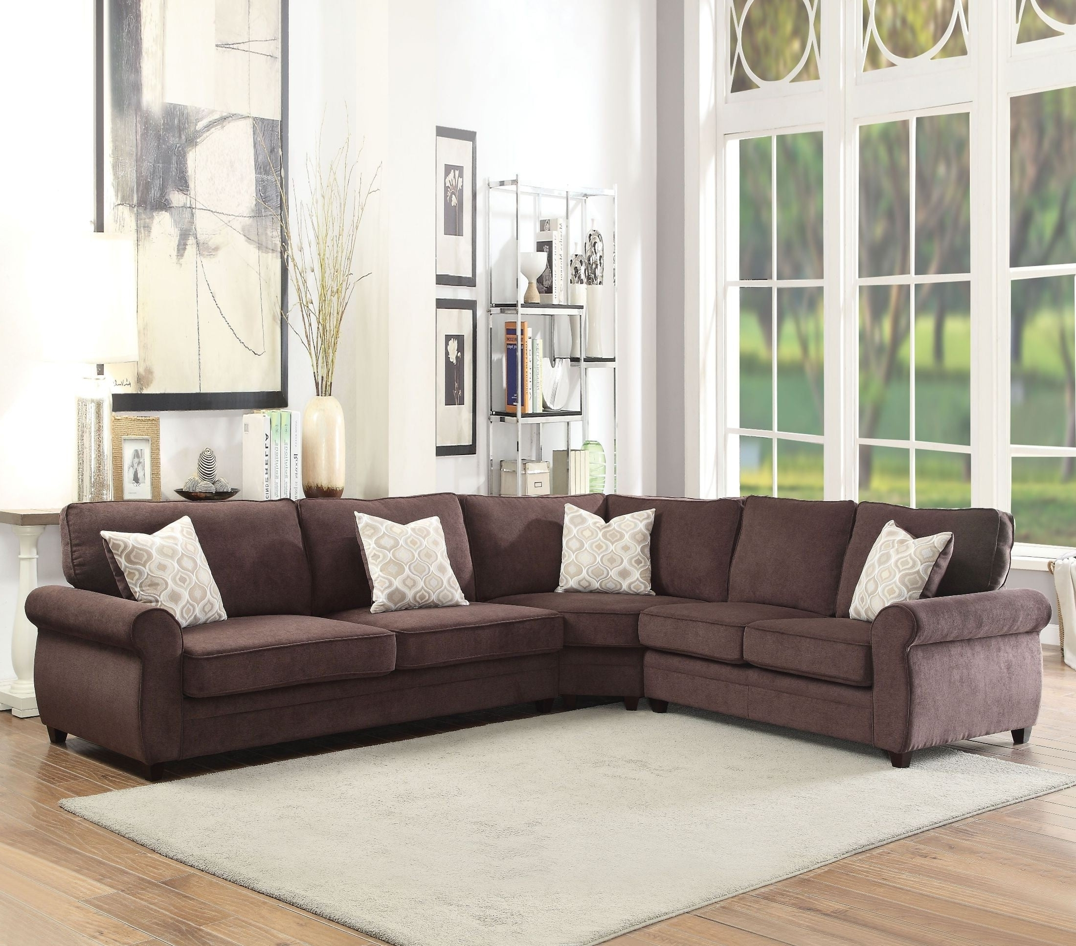 Sectional Sofas At Barrie Regarding Favorite Randolph Chocolate Chenille Sectional Sofa Sleeper From Acme (View 15 of 15)
