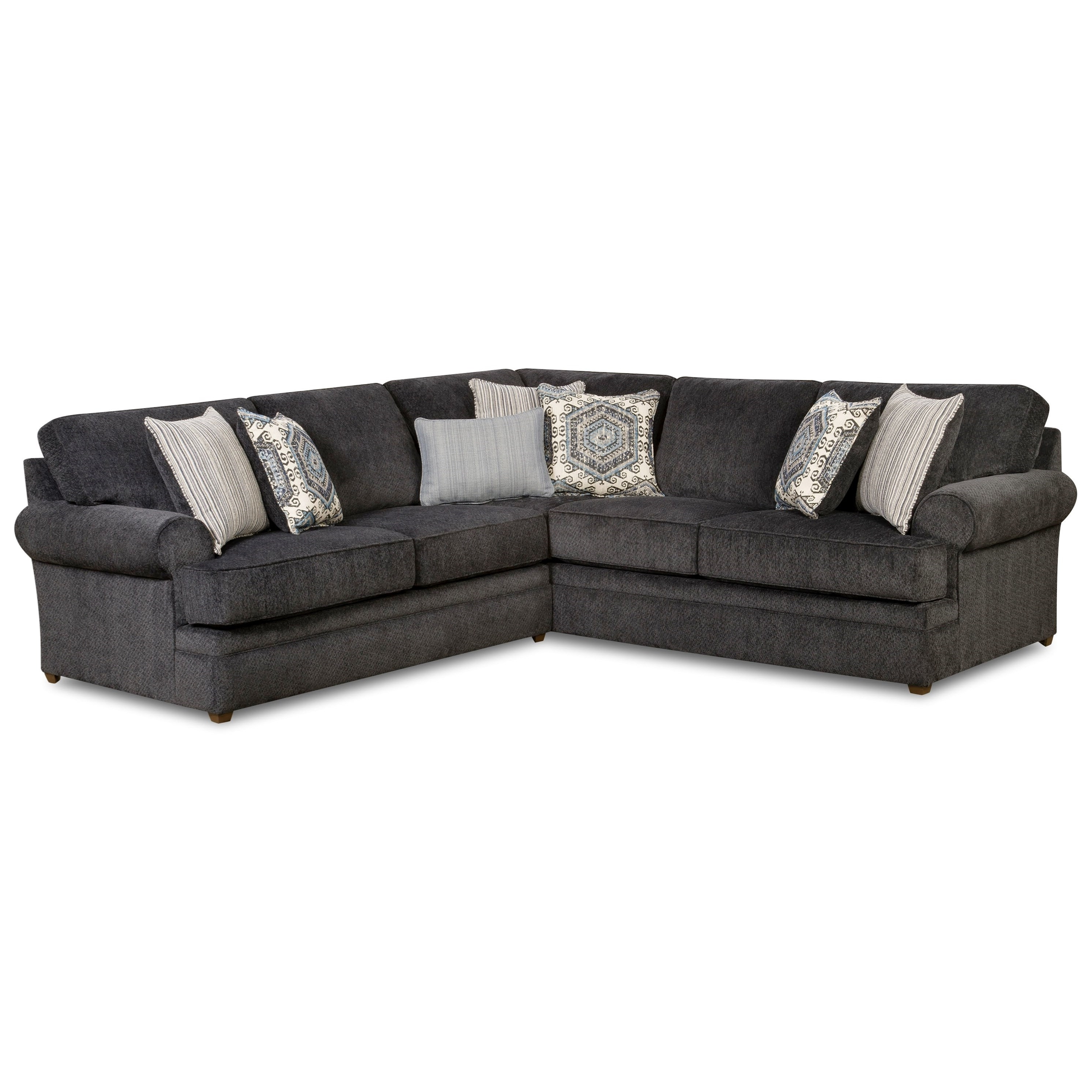 Sectional Sofas At Birmingham Al Regarding Well Liked Simmons Upholstery 8530 Br Transitional Sectional Sofa With Rolled (View 2 of 15)