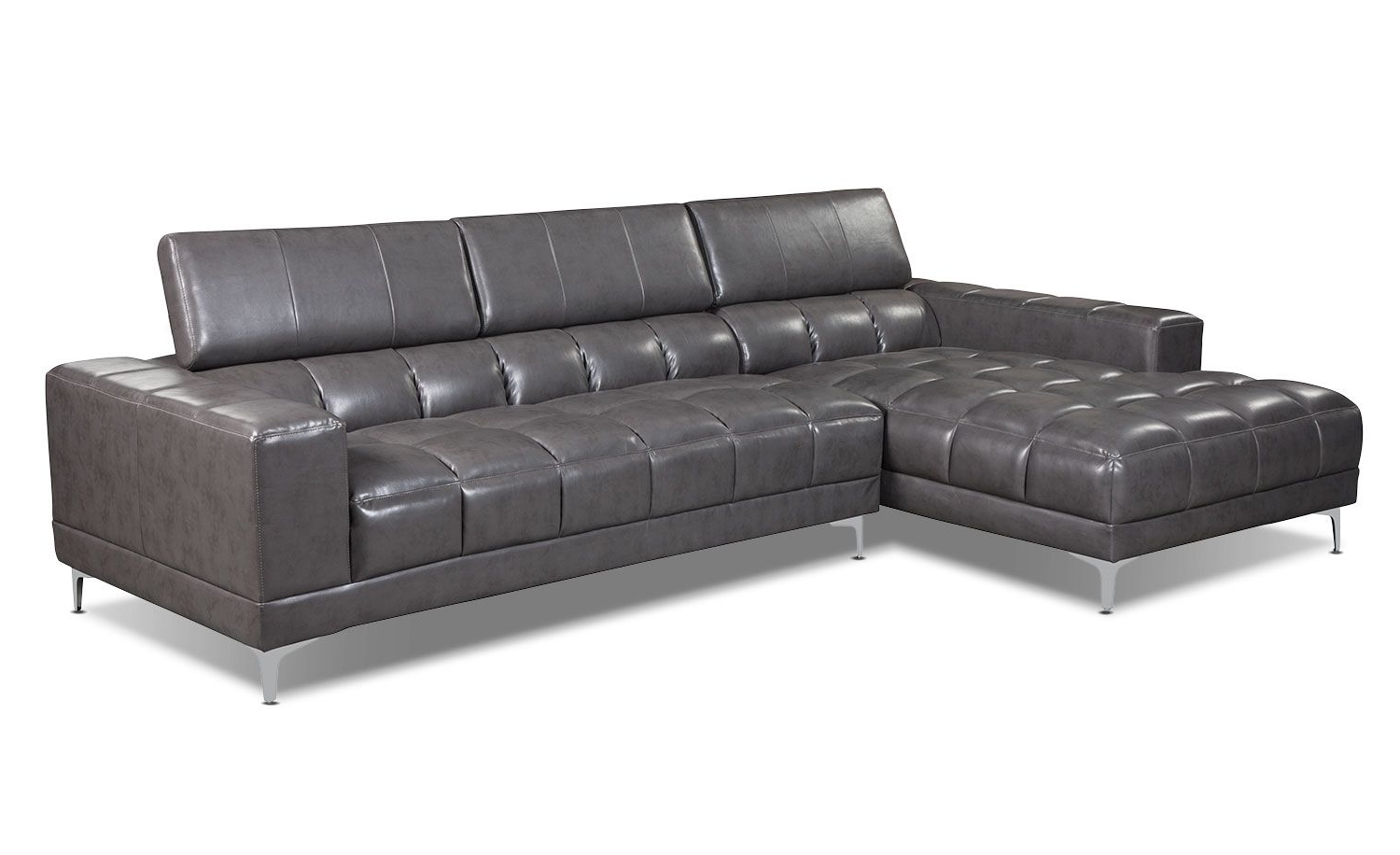 Sectional Sofas At Brick For Newest Zippa 2 Piece Bonded Leather Left Facing Sectional – Grey (View 6 of 15)