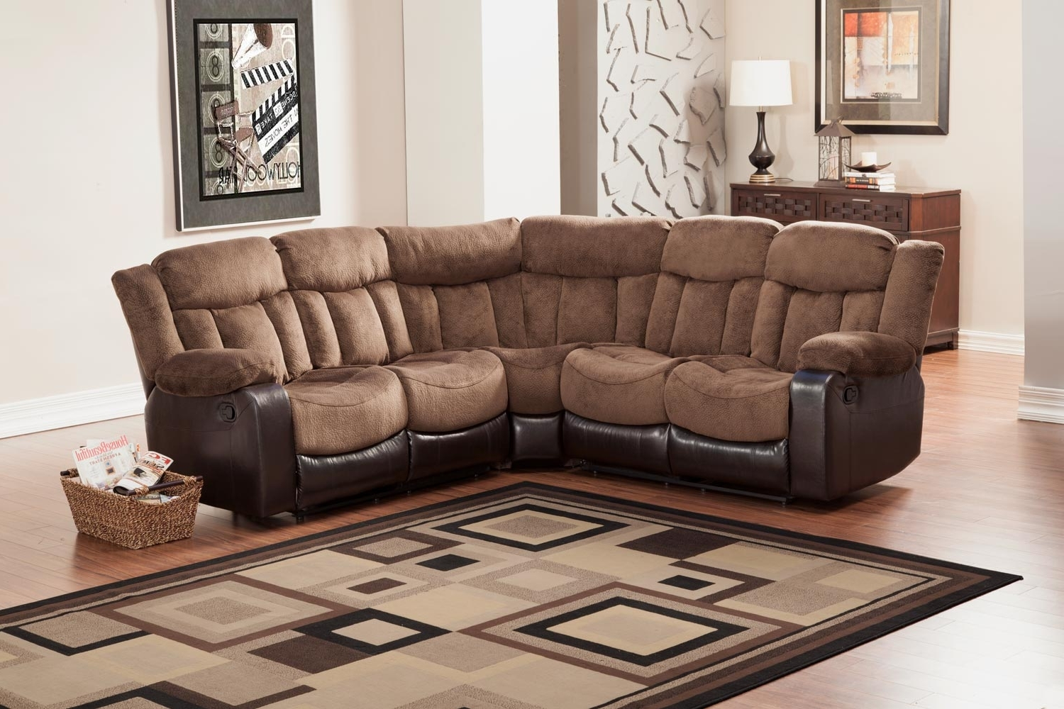 Sectional Sofas At Edmonton Regarding Widely Used Homelegance Vera Reclining Sectional Sofa – Chocolate – Textured (View 9 of 15)