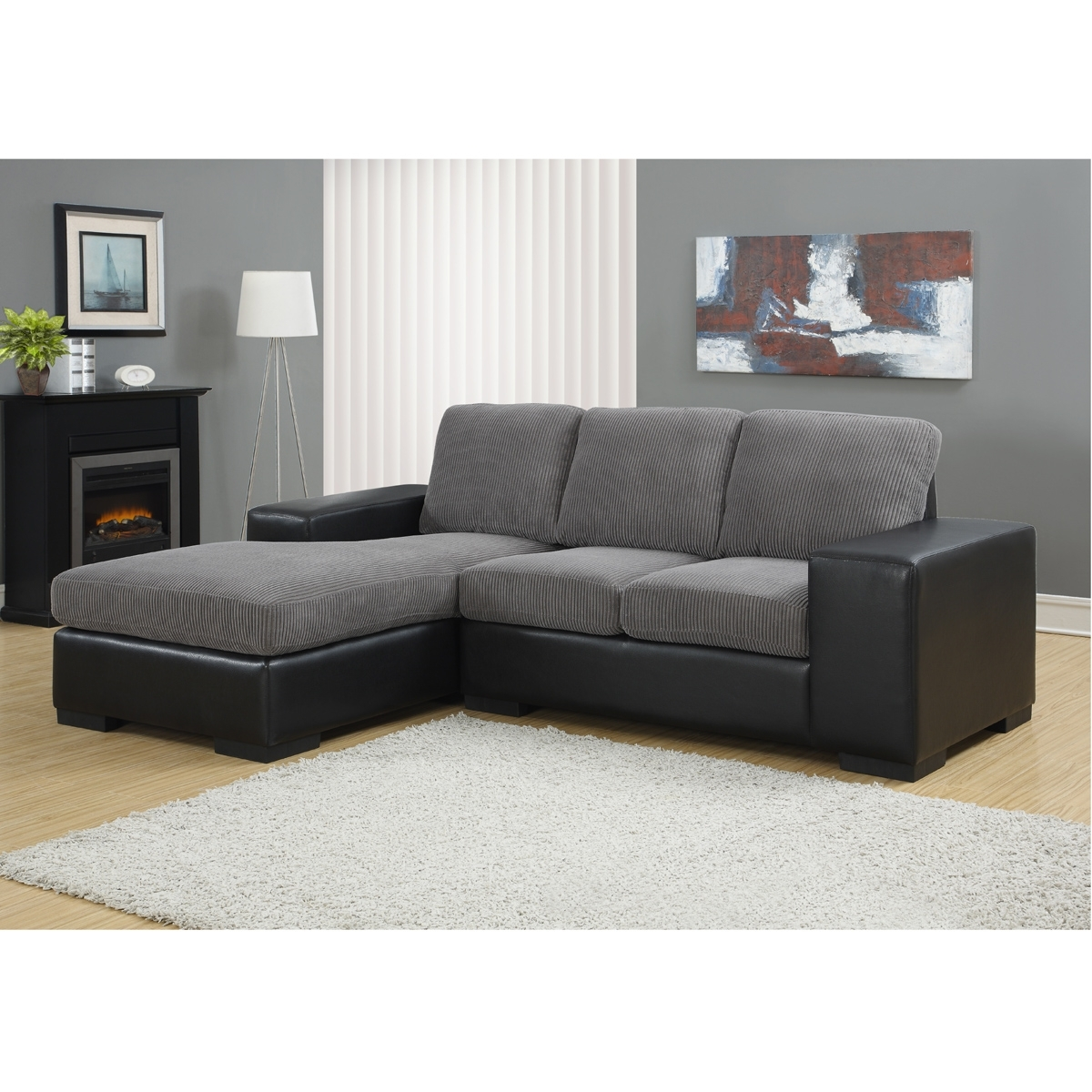 Sectional Sofas For Condos Regarding Preferred Jacob Corduroy Sofa In Grey & Black (View 11 of 15)