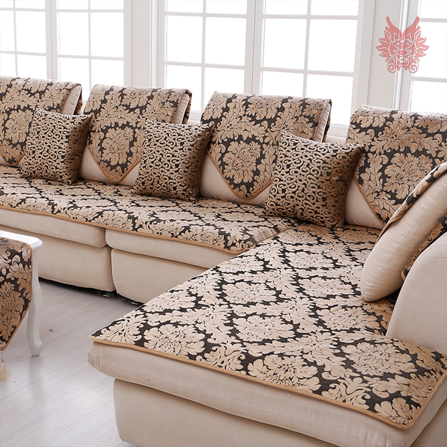 Sectional Sofas From Europe In Well Known Europe Black Gold Floral Jacquard Terry Cloth Sofa Cover Plush (View 14 of 15)