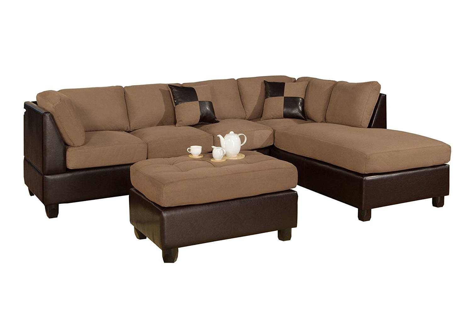 Sectional Sofas Under 1500 For Most Current Amazon: Bobkona Hungtinton Microfiber/faux Leather 3 Piece (View 9 of 15)