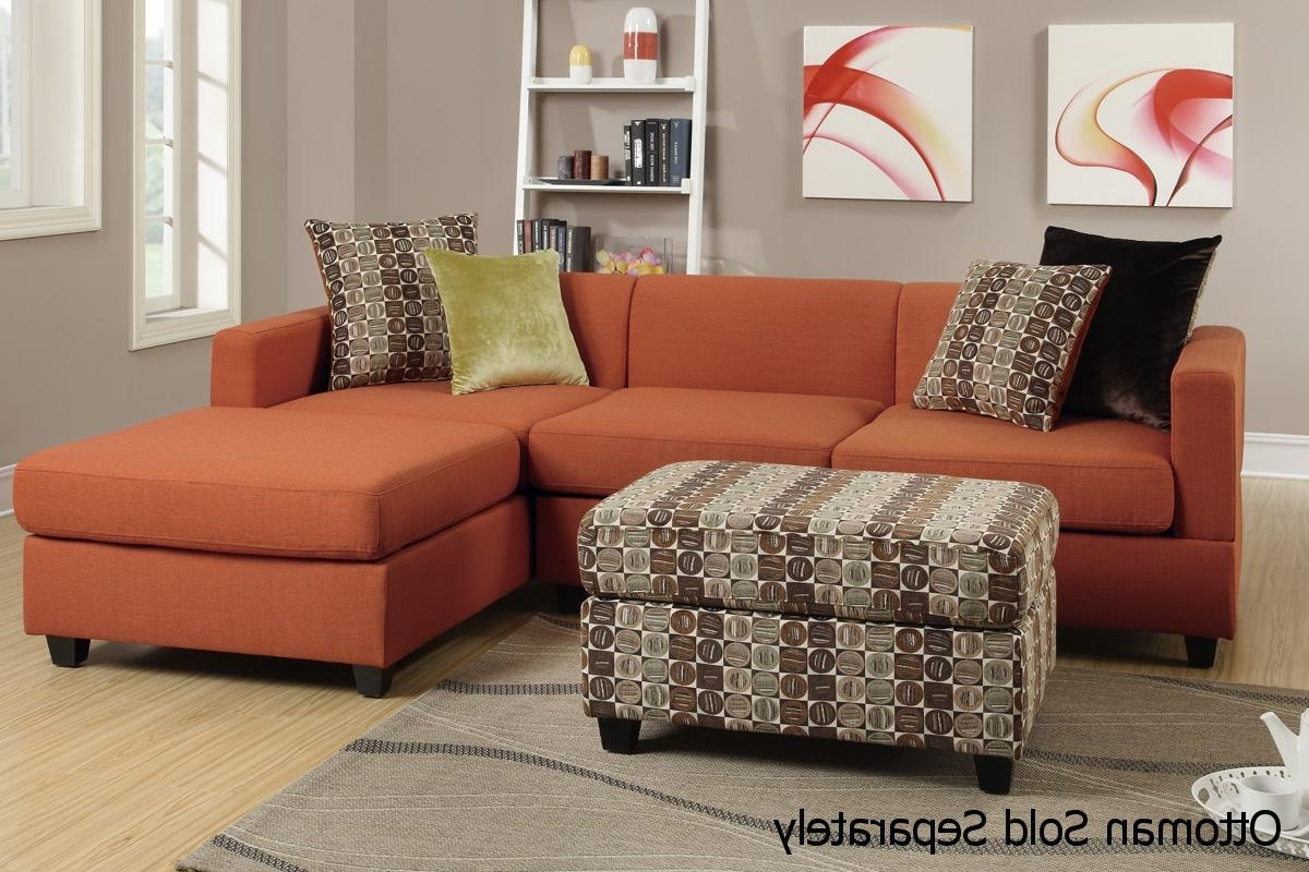 Sectional Sofas Under 500 For Latest Maribel Orange Fabric Sectional Sofa – Steal A Sofa Furniture (View 6 of 15)