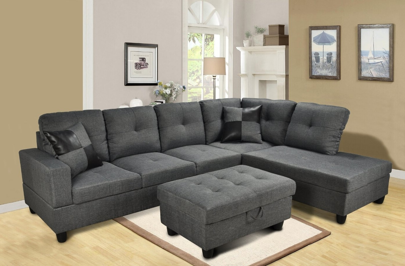 Sectional Sofas Under 600 Intended For Most Recent Amazon: Beverly Furniture 3 Piece Microfiber And Faux Leather (View 11 of 15)