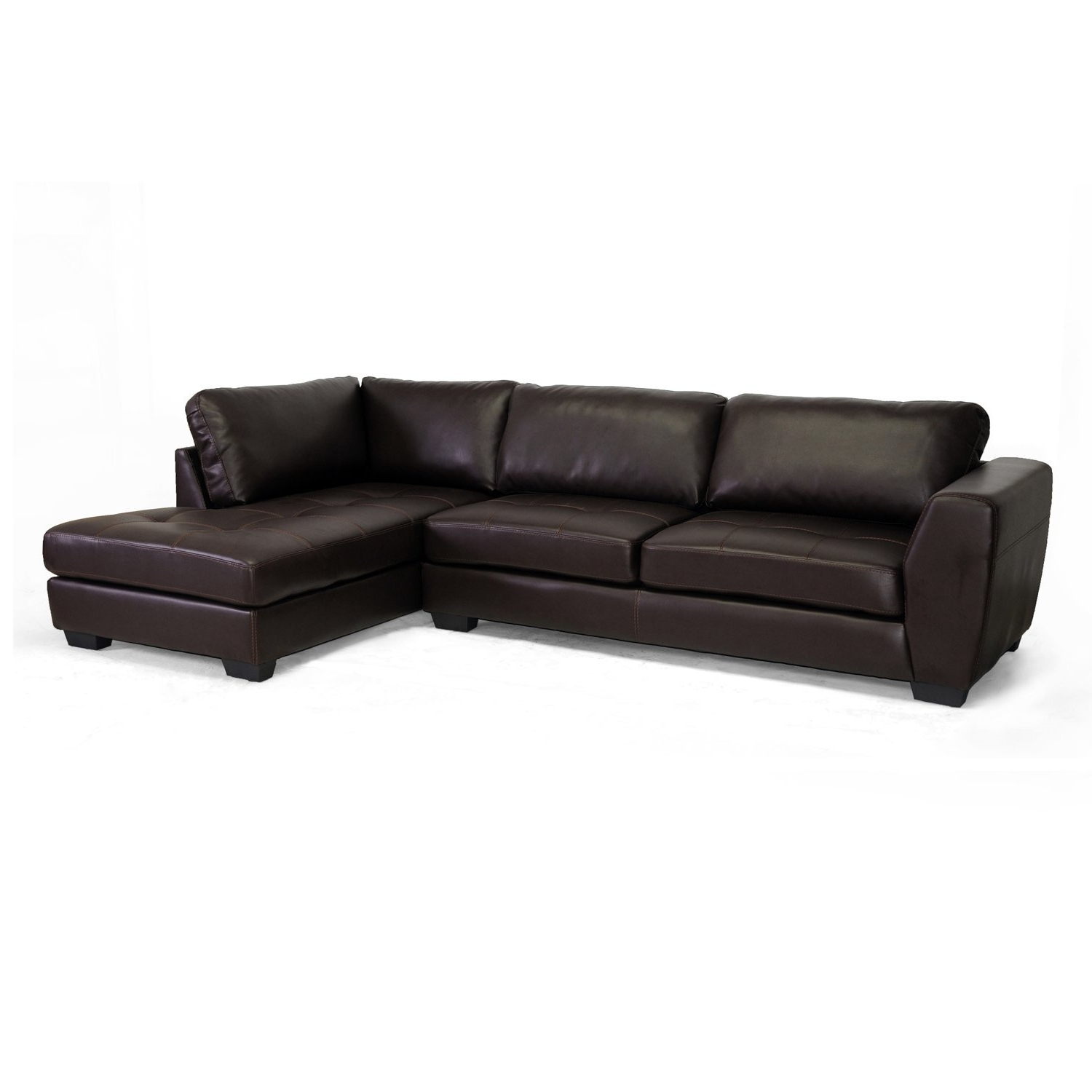 Sectional Sofas With 2 Chaises Throughout Most Popular Amazon: Baxton Studio Orland Bonded Leather Modern Sectional (View 12 of 15)