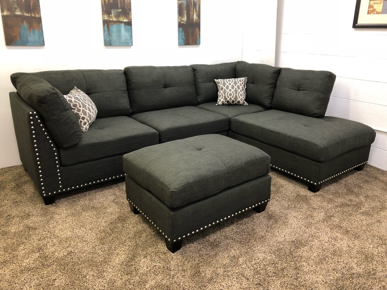 Sectional Sofas With Chaise Lounge And Ottoman In 2018 1 In Stock)#n753R  $250 Down  Black Linen Studded Linen Sectional (View 10 of 15)