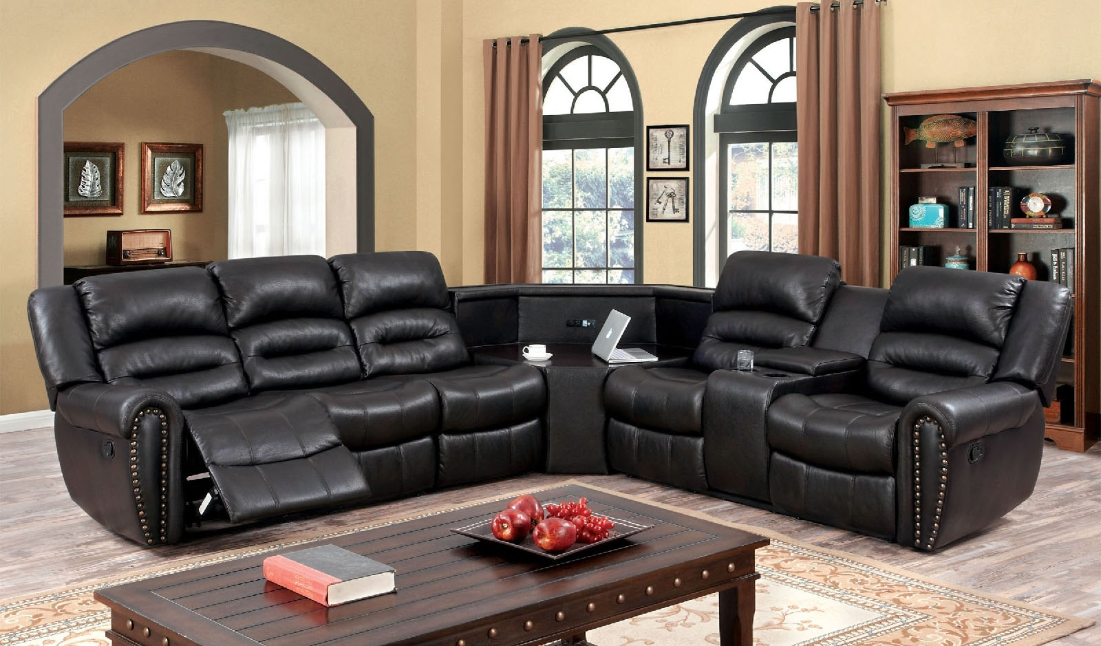 Sectional Sofas With Cup Holders Throughout Most Popular Double Recliner With Cup Holders Fabric Reclining Sectional (View 3 of 15)