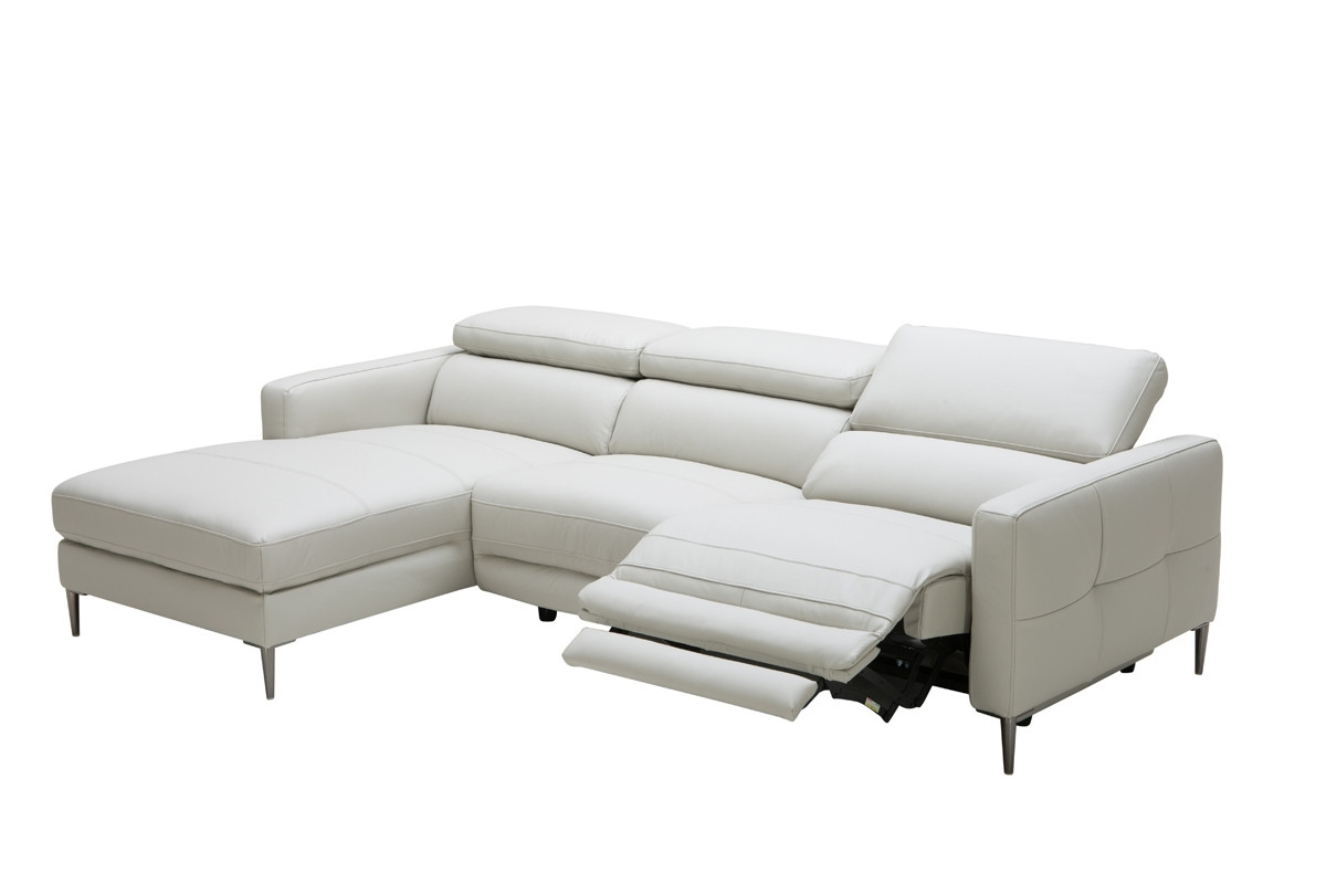 Sectional Sofas With Electric Recliners Intended For Best And Newest Casa Booth Modern Light Grey Leather Sectional Sofa W/ Electric (View 6 of 15)