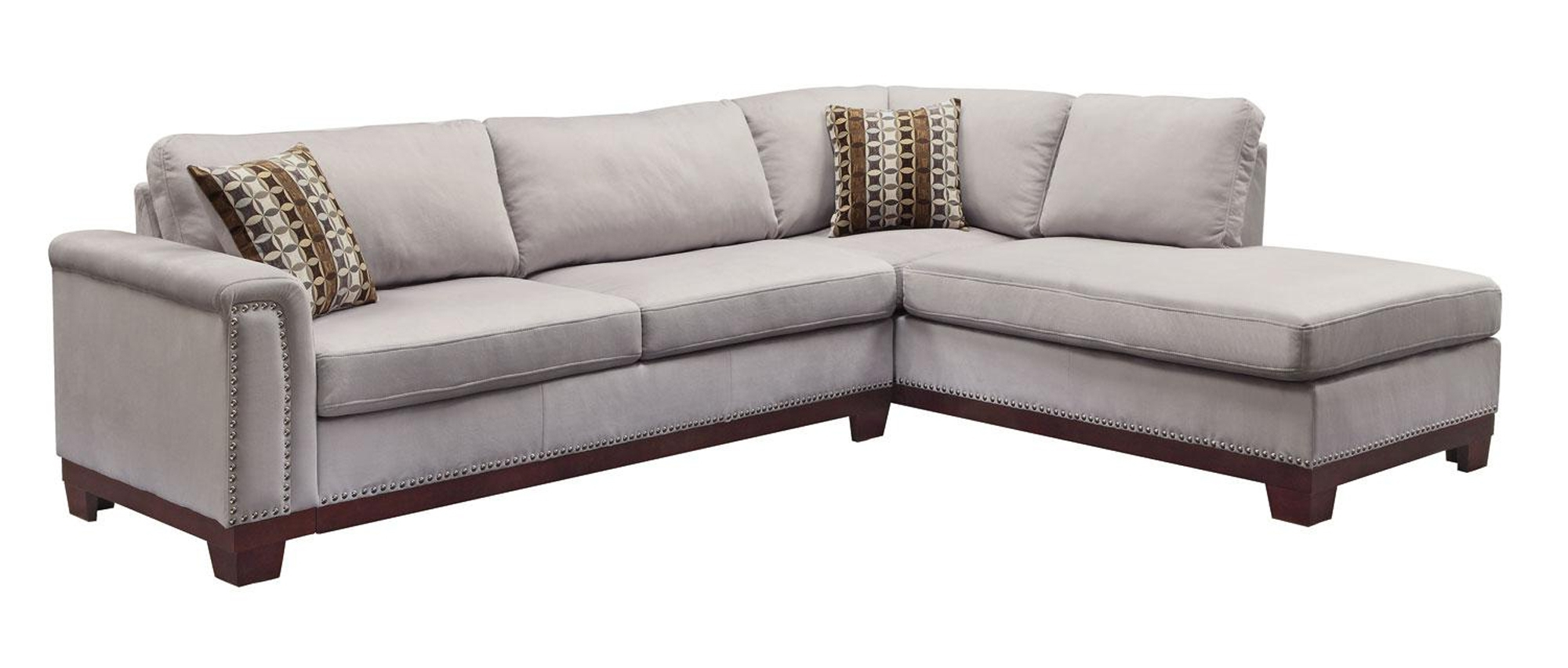Sectional Sofas With Nailhead Trim in Popular $1051.92 Mason Sectional Sofa With Nailhead Trim And Accent