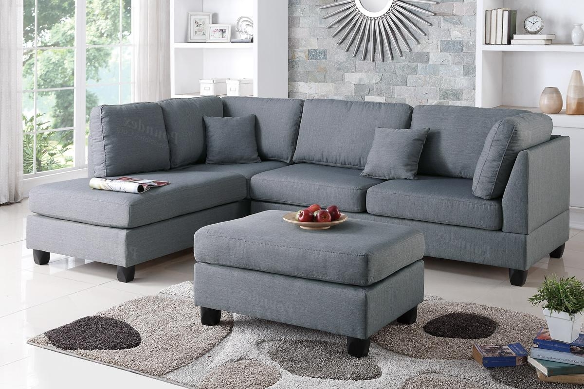 Sectional Sofas With Ottoman For Most Popular Grey Fabric Reversible Chaise Sectional Sofa With Ottoman Inside (View 10 of 15)