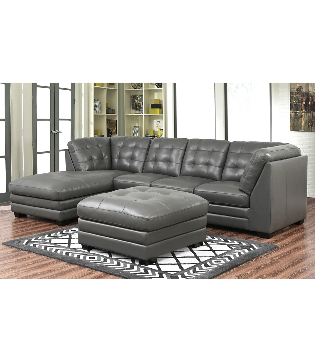 Sectionals : Lawrence Top Grain Leather Sectional With Ottoman Pertaining To Favorite Leather Sectionals With Ottoman (View 13 of 15)