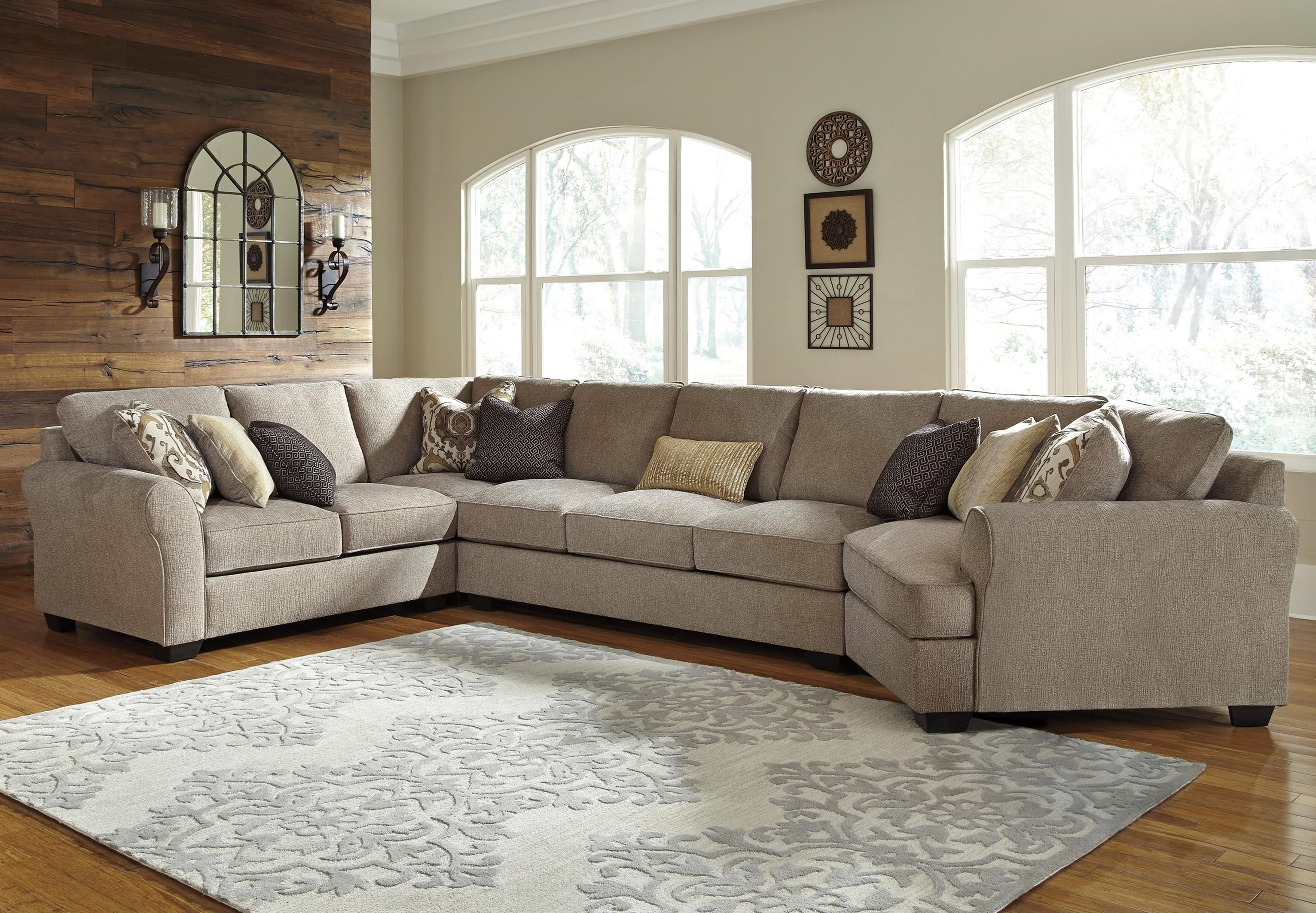 Sectionals With Cuddler And Chaise With Most Current Benchcraft Pantomine 4 Piece Sectional With Left Cuddler & Armless (View 13 of 15)