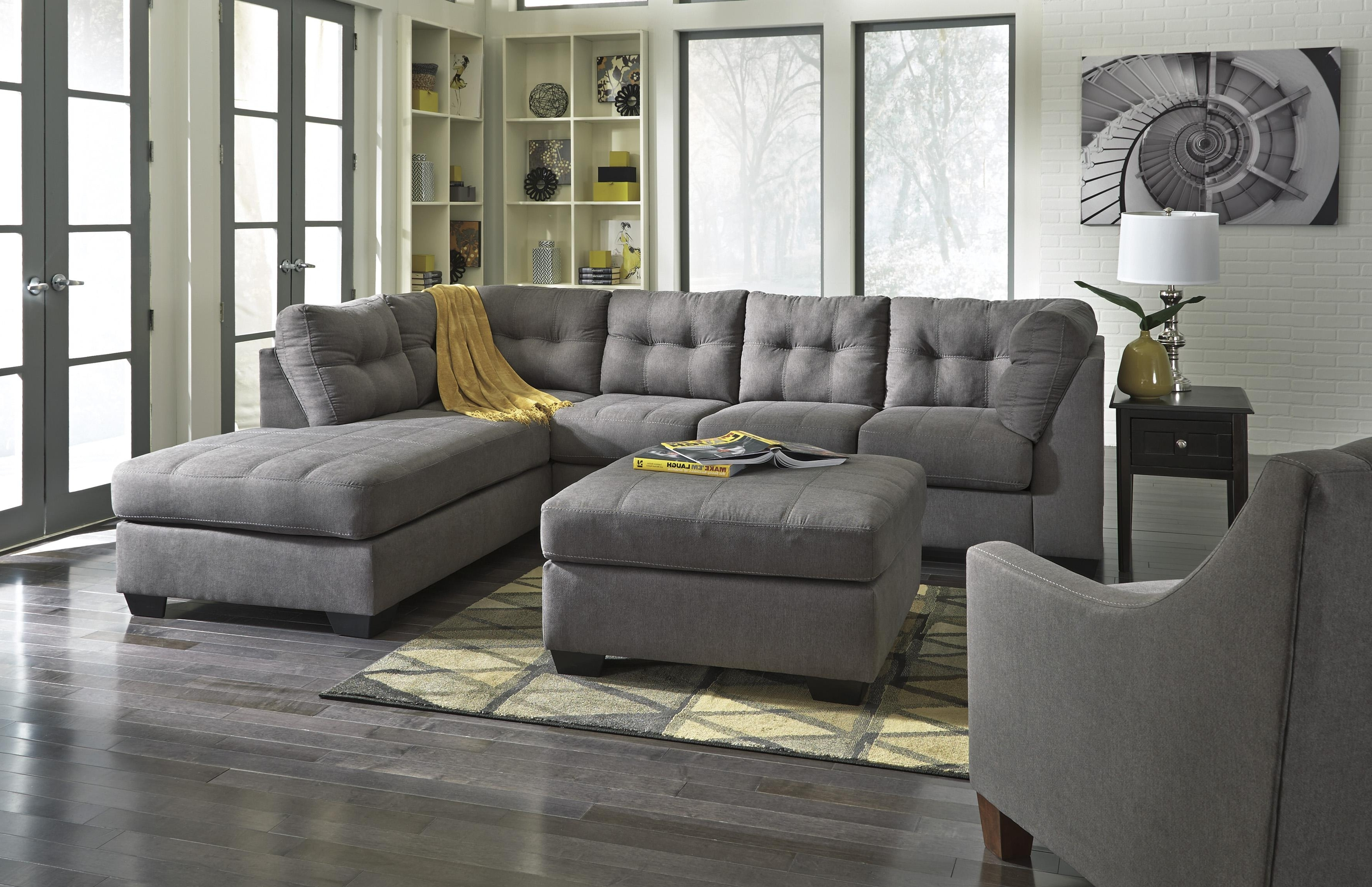 Sectionals With Ottoman And Chaise Intended For Latest Benchcraft Maier – Charcoal 2 Piece Sectional With Right Chaise (View 8 of 15)