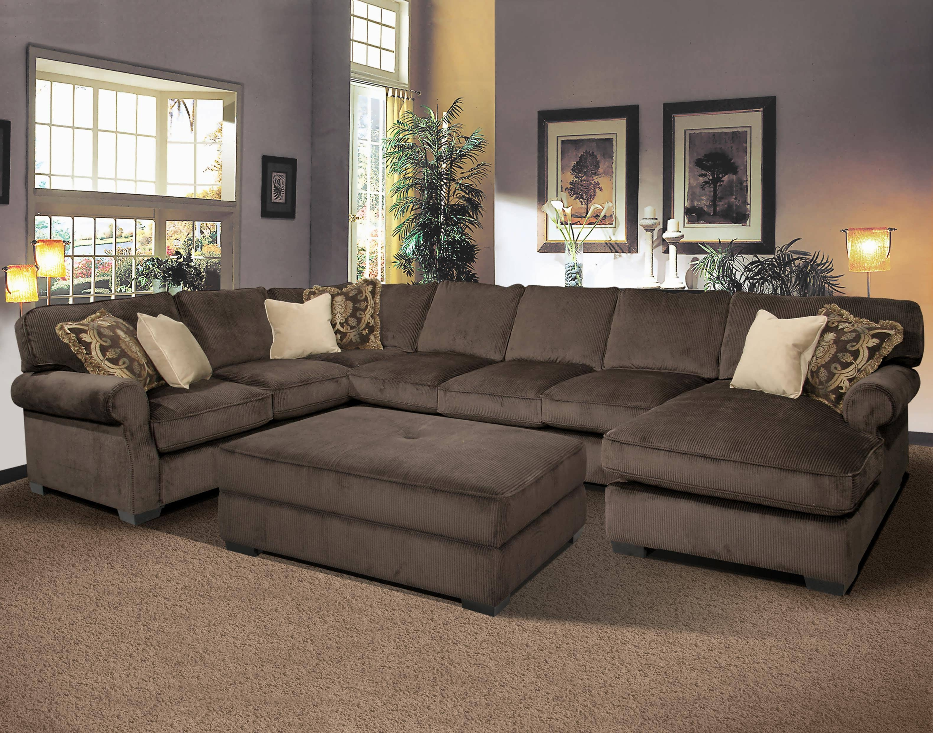 Sectionals With Ottoman And Chaise Pertaining To Best And Newest Sofa : Leather Sectional Sofa Large Sectional Red Sectional Sofa (View 2 of 15)