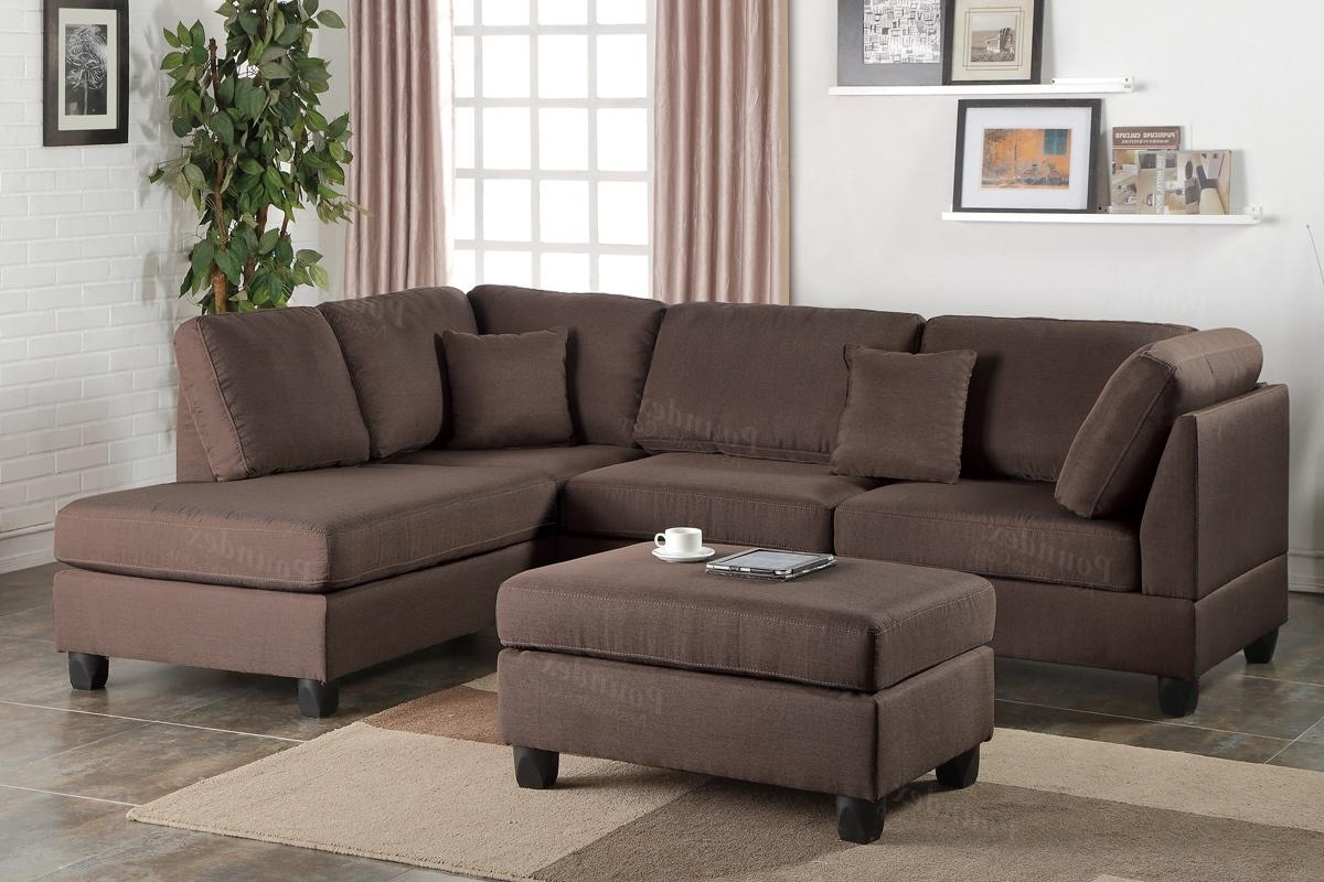 Sectionals With Ottoman And Chaise Throughout Most Recently Released Brown Fabric Sectional Sofa And Ottoman – Steal A Sofa Furniture (View 12 of 15)