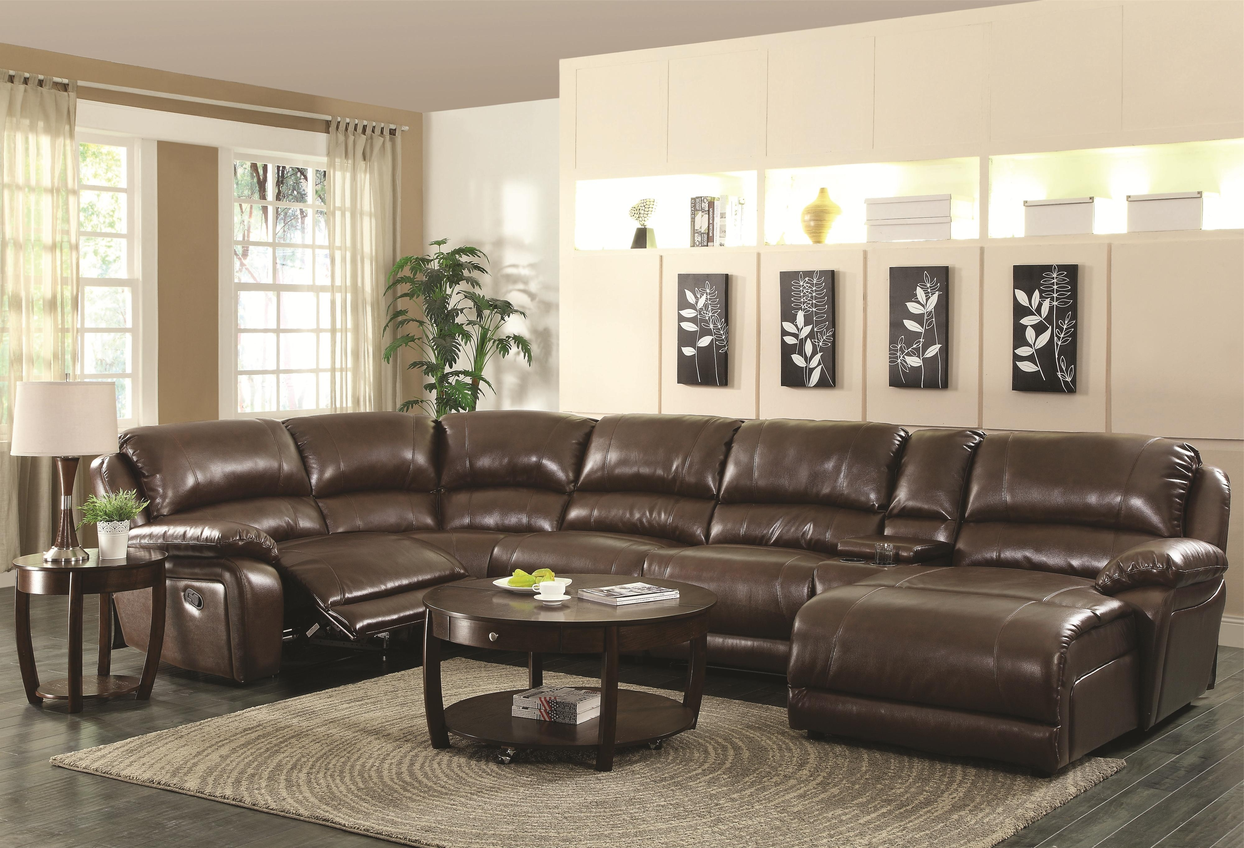 Sectionals With Recliner And Chaise Intended For Most Recent Coaster Mackenzie Chestnut 6 Piece Reclining Sectional Sofa With (View 3 of 15)