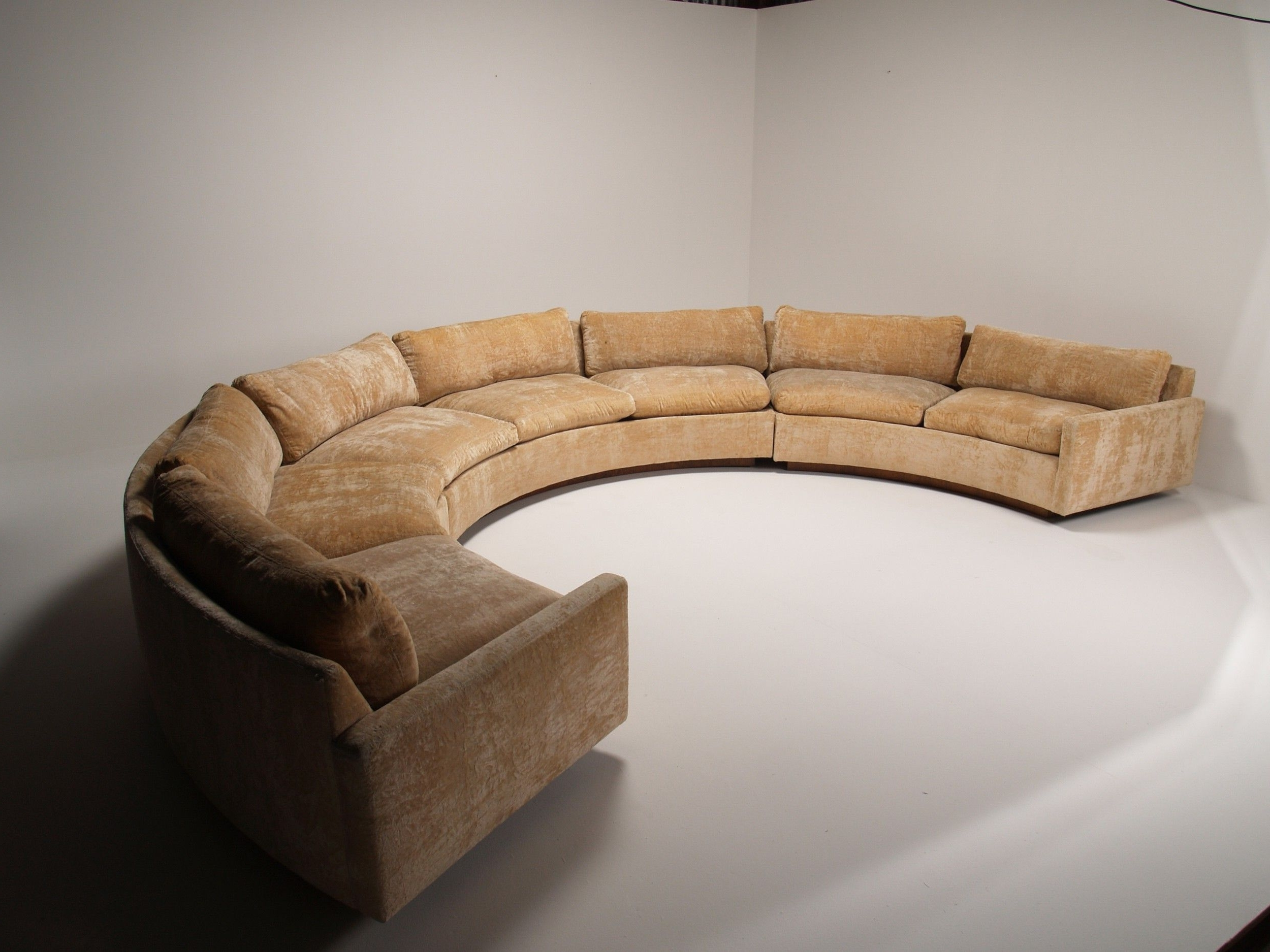 Semicircular Sofas With Famous Popular Grey Velvet Curved Couch Without Cushions As Well As In (View 12 of 15)