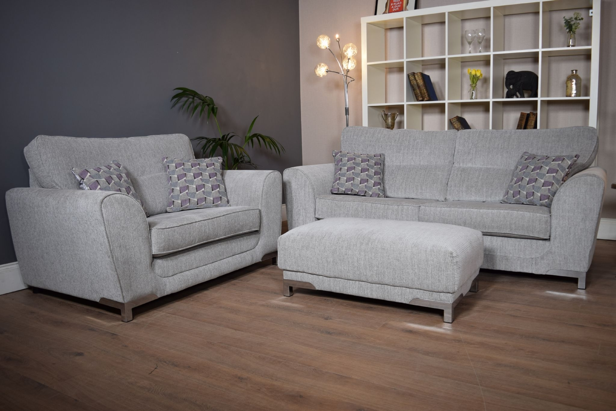 Set Nikki 3 Seater Sofa Cuddle Chair & Footstool Suite Set – Light Intended For 2017 3 Seater Sofas And Cuddle Chairs (View 9 of 15)
