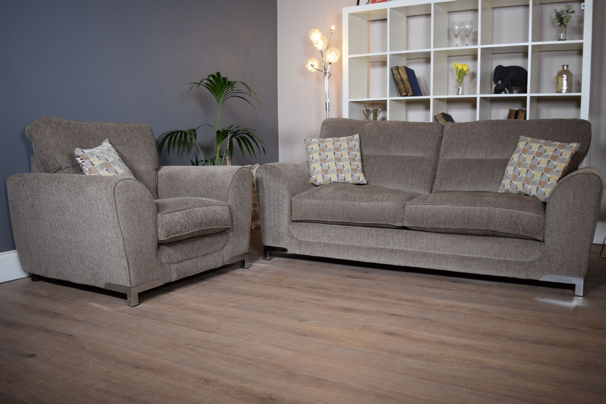 Set Nikki 3 Seater Sofa & Cuddle Chair Suite Set – Mocha Grey Inside Most Recent 3 Seater Sofas And Cuddle Chairs (View 11 of 15)