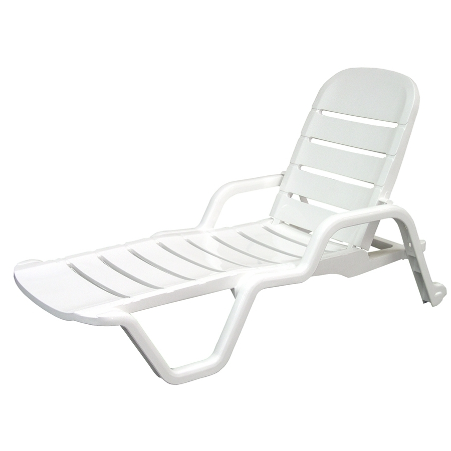 Shop Adams Mfg Corp White Resin Stackable Patio Chaise Lounge For Most Up To Date White Chaise Lounge Chairs (View 7 of 15)