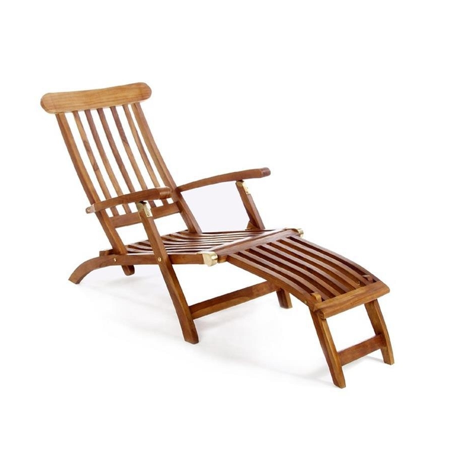 Shop All Things Cedar Brown Folding Patio Chaise Lounge Chair At Regarding Well Known Teak Chaises (View 7 of 15)