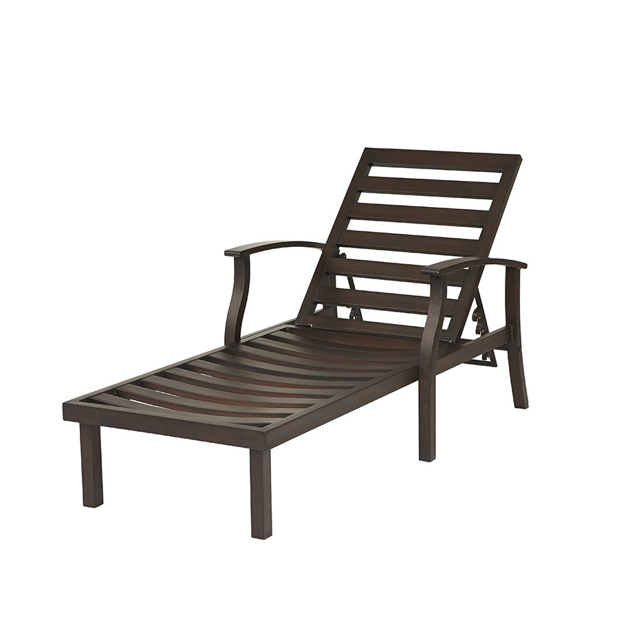 Shop Allen + Roth Gatewood Brown Aluminum Patio Chaise Lounge Throughout Famous Lowes Outdoor Chaise Lounges (View 9 of 15)
