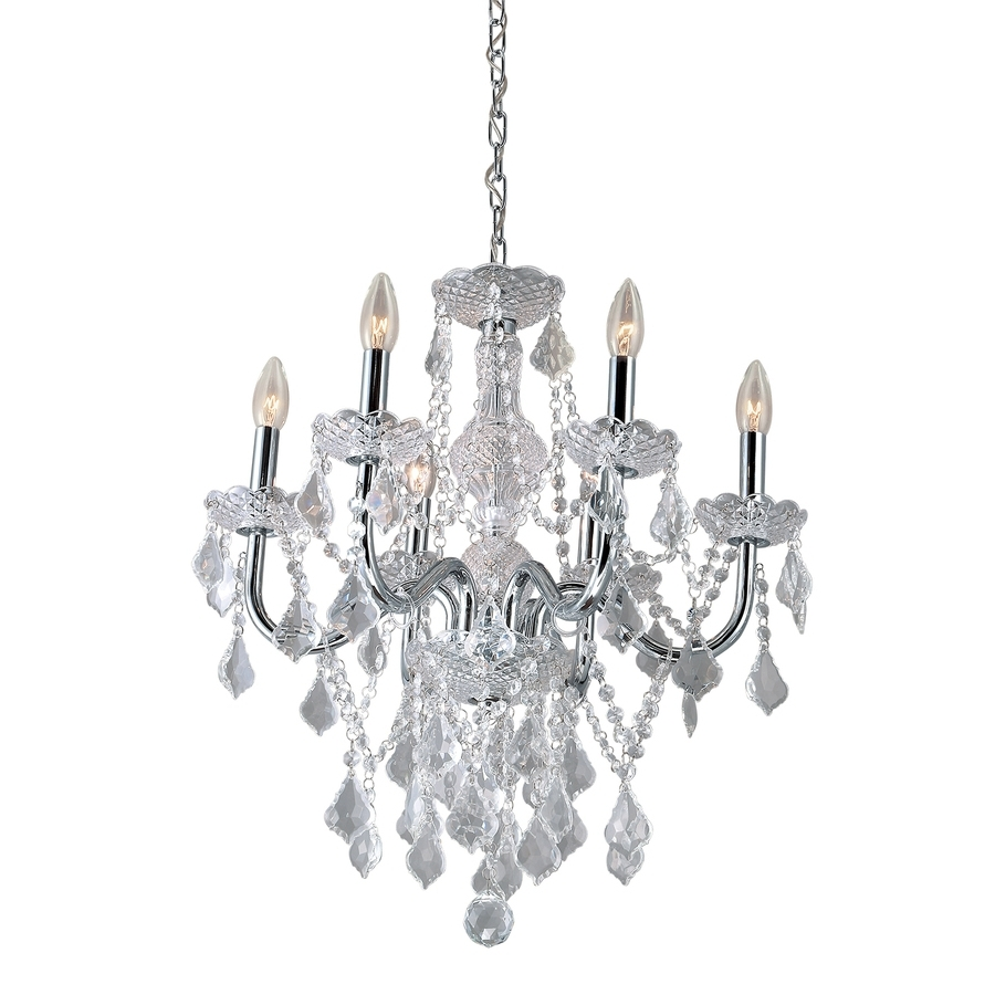Shop Chandeliers At Lowes Pertaining To Most Recent Chrome And Crystal Chandeliers (View 11 of 15)