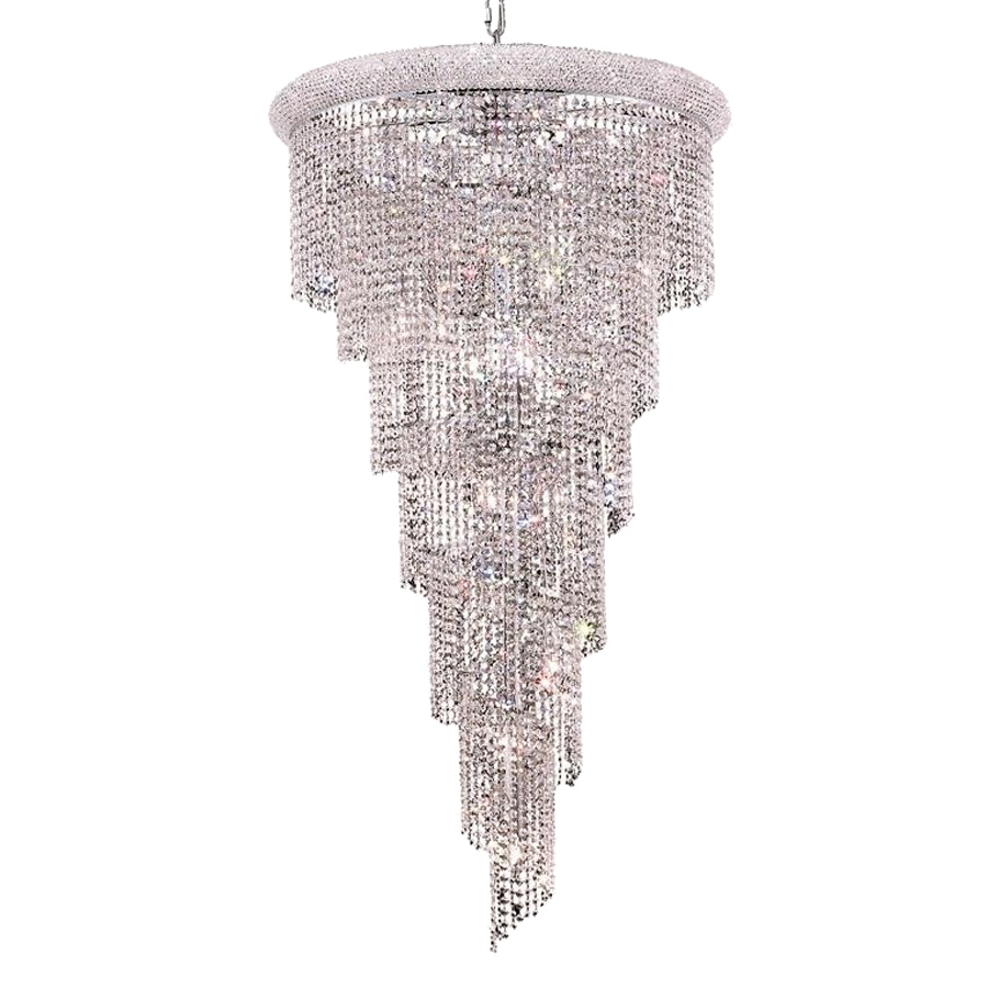 Shop Elegant Lighting Spiral 30 In 22 Light Chrome Crystal Crystal For Trendy Crystal Waterfall Chandelier (View 4 of 15)