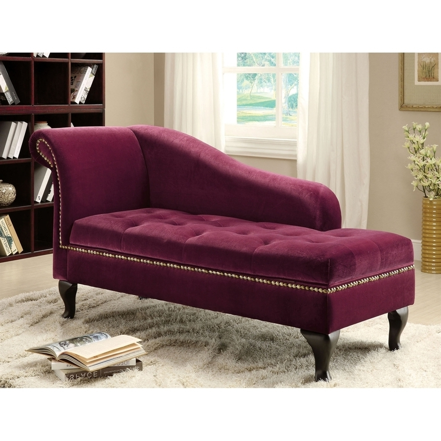 Shop Furniture Of America Lakeport Glam Red Violet Microfiber With 2017 Microfiber Chaise Lounges (View 5 of 15)