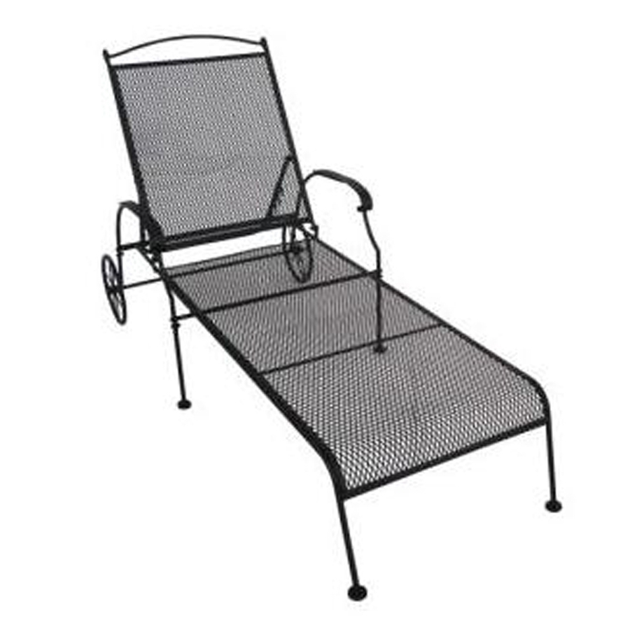 Shop Garden Treasures Hanover Mesh Seat Wrought Iron Patio Chaise Throughout Well Known Iron Chaise Lounges (View 12 of 15)