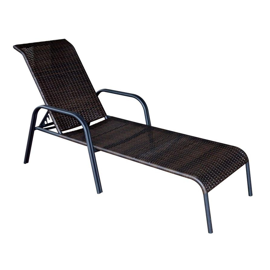 Shop Garden Treasures Pelham Bay Brown Steel Stackable Patio For Fashionable Black Chaise Lounge Outdoor Chairs (View 15 of 15)