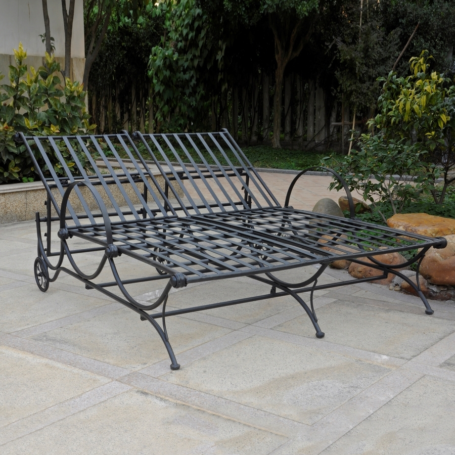 Shop International Caravan Antique Black Wrought Iron Patio Chaise With Regard To Well Known Wrought Iron Chaise Lounges (View 6 of 15)