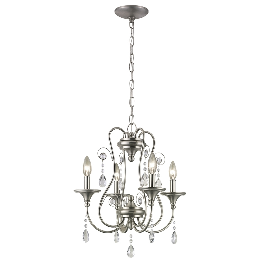 Shop Portfolio Opula 17 In 4 Light Brushed Nickel Crystal Candle Within Popular 4 Light Crystal Chandeliers (View 5 of 15)