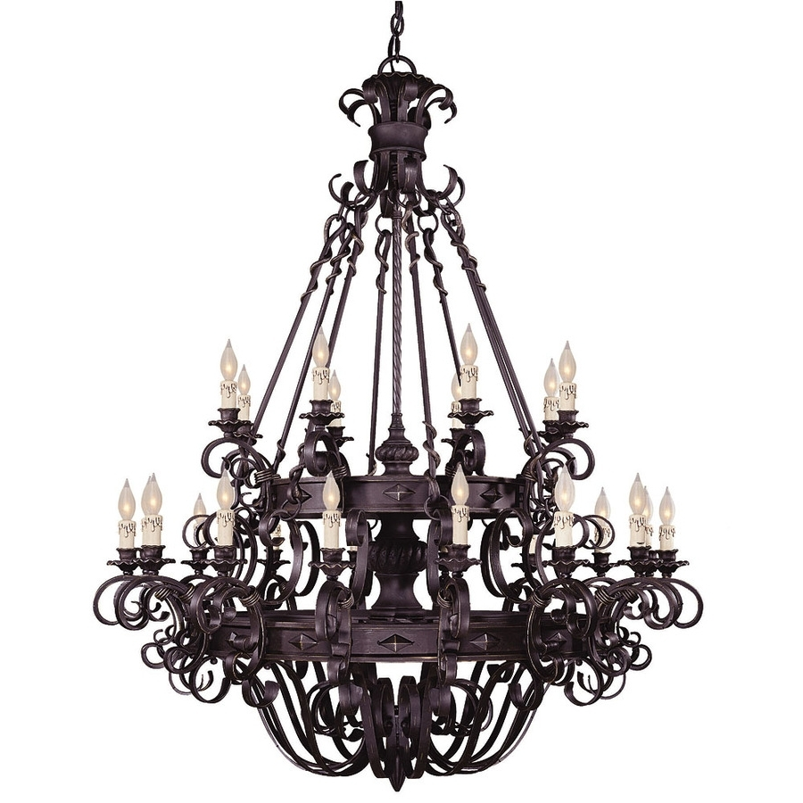 Shop Shandy 48 In 24 Light Forged Black Candle Chandelier At Lowes Throughout Well Known Candle Chandelier (View 12 of 15)