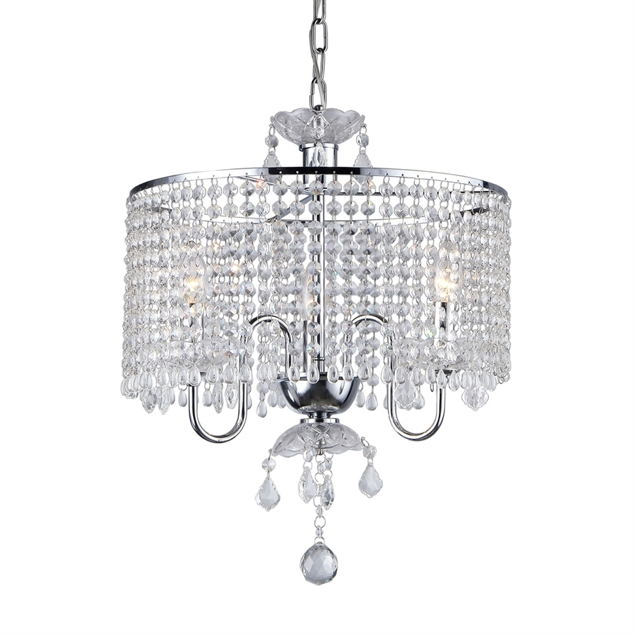 Shop Warehouse Of Tiffany 17 In 3 Light Chrome Crystal Crystal Drum In Popular 4 Light Chrome Crystal Chandeliers (View 10 of 15)