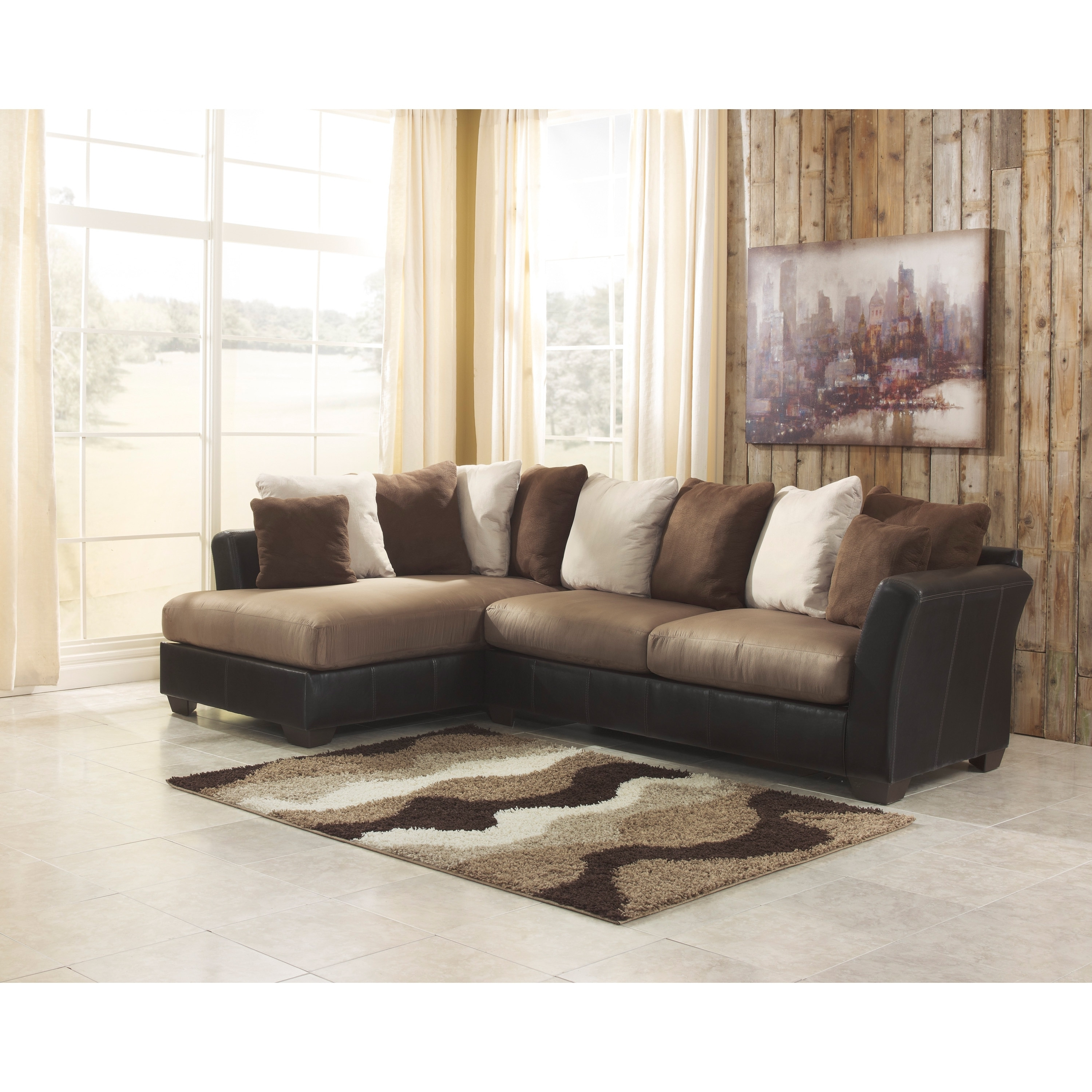 Signature Designashley Masoli 2 Piece Mocha Corner Chaise And With Regard To Current 2 Piece Sectionals With Chaise (View 11 of 15)