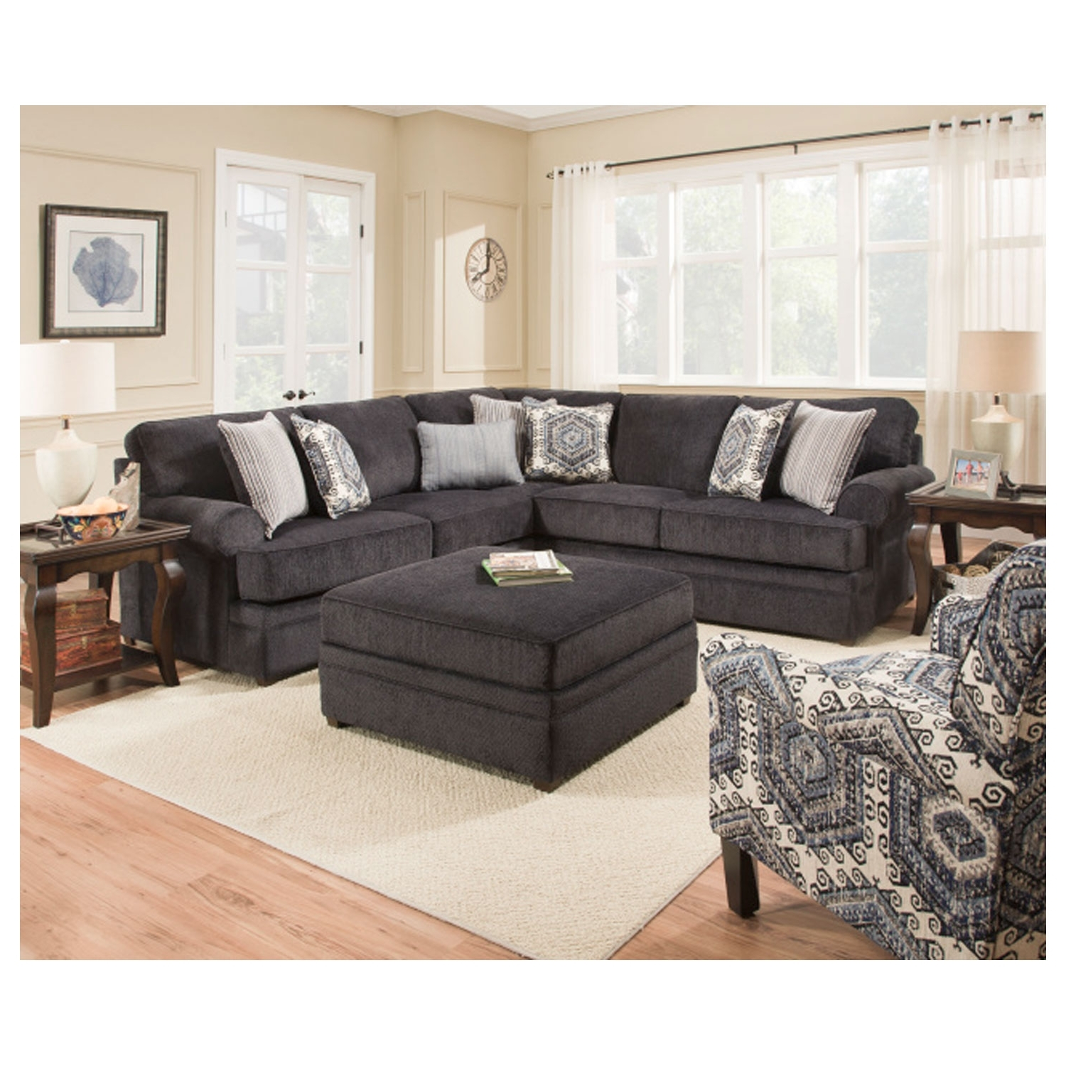 Simmons Sectional Sofas Pertaining To Well Known Simmons 8530Br Sectional Sofa Bellamy Slate (View 9 of 15)