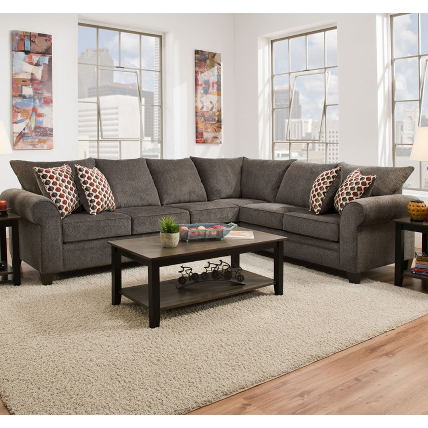 Simmons Sectional Sofas With Most Recently Released Simmons 1647 Sectional Sofa Albany Pewter (View 5 of 15)