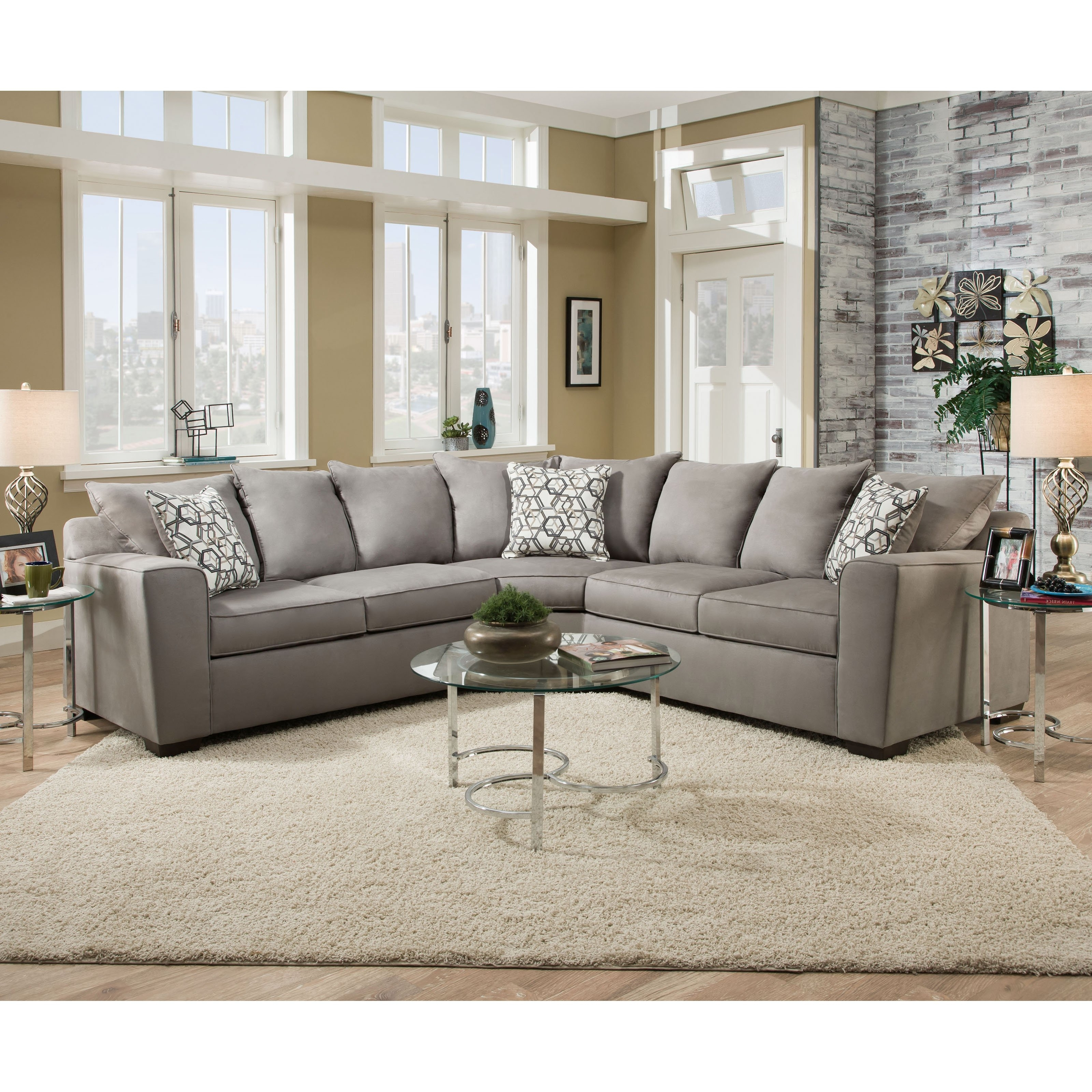 Simmons Sectional Sofas With Regard To Well Liked Simmons Venture Smoke Fabric Sectional (View 12 of 15)