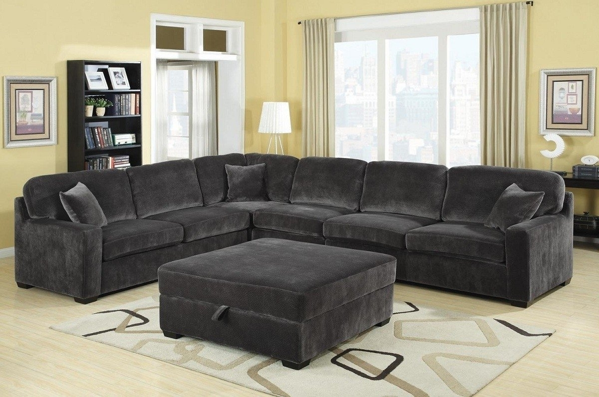 Simple Grey Sectional Couches Sofa Sofas Cocktail Ottoman For With For Most Up To Date Sectional Couches With Large Ottoman (View 14 of 15)