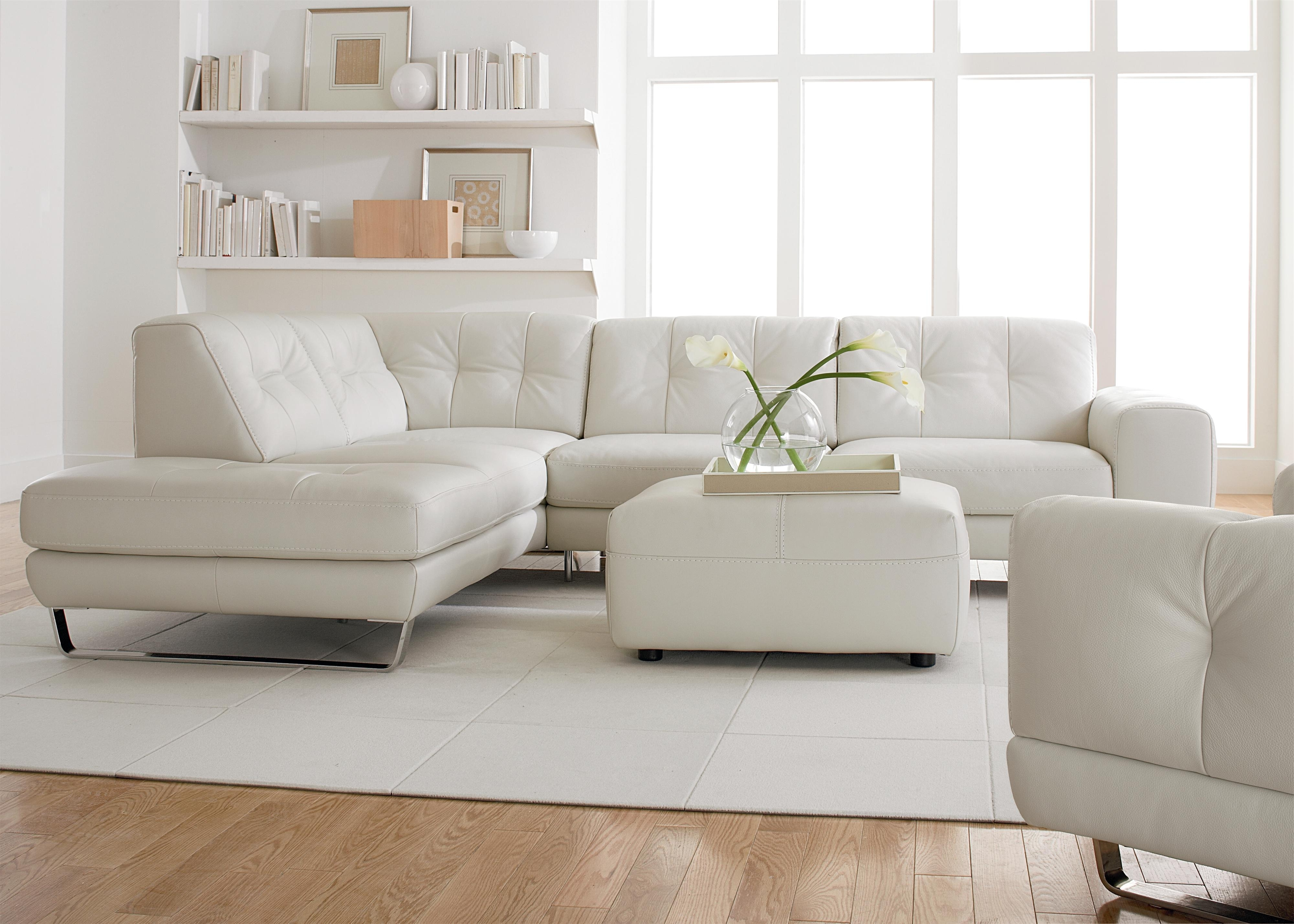 Simple Modern Minimalist Living Room Decoration With White Leather For 2018 Tufted Sectional Sofas With Chaise (View 13 of 15)
