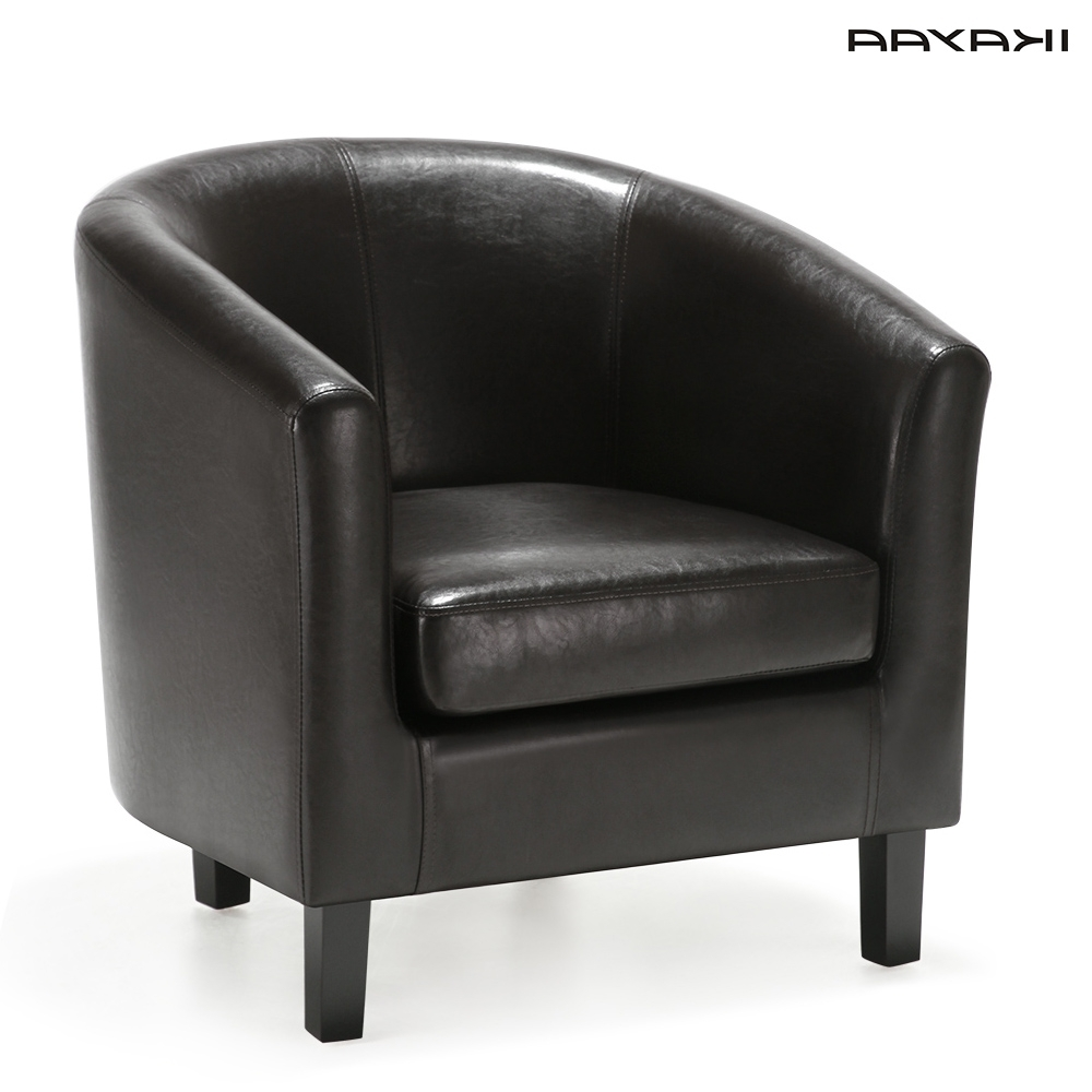 Single Seat Sofa Chairs Inside 2018 Ikayaa Us Fr Stock Chair Pu Leather Barrel Tub Chair Armchair (View 10 of 15)