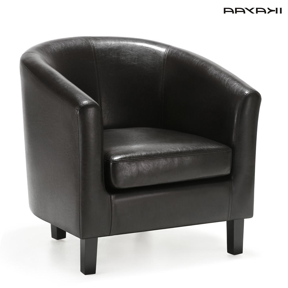 Single Seat Sofa Chairs Inside 2018 Ikayaa Us Fr Stock Chair Pu Leather Barrel Tub Chair Armchair (View 13 of 15)