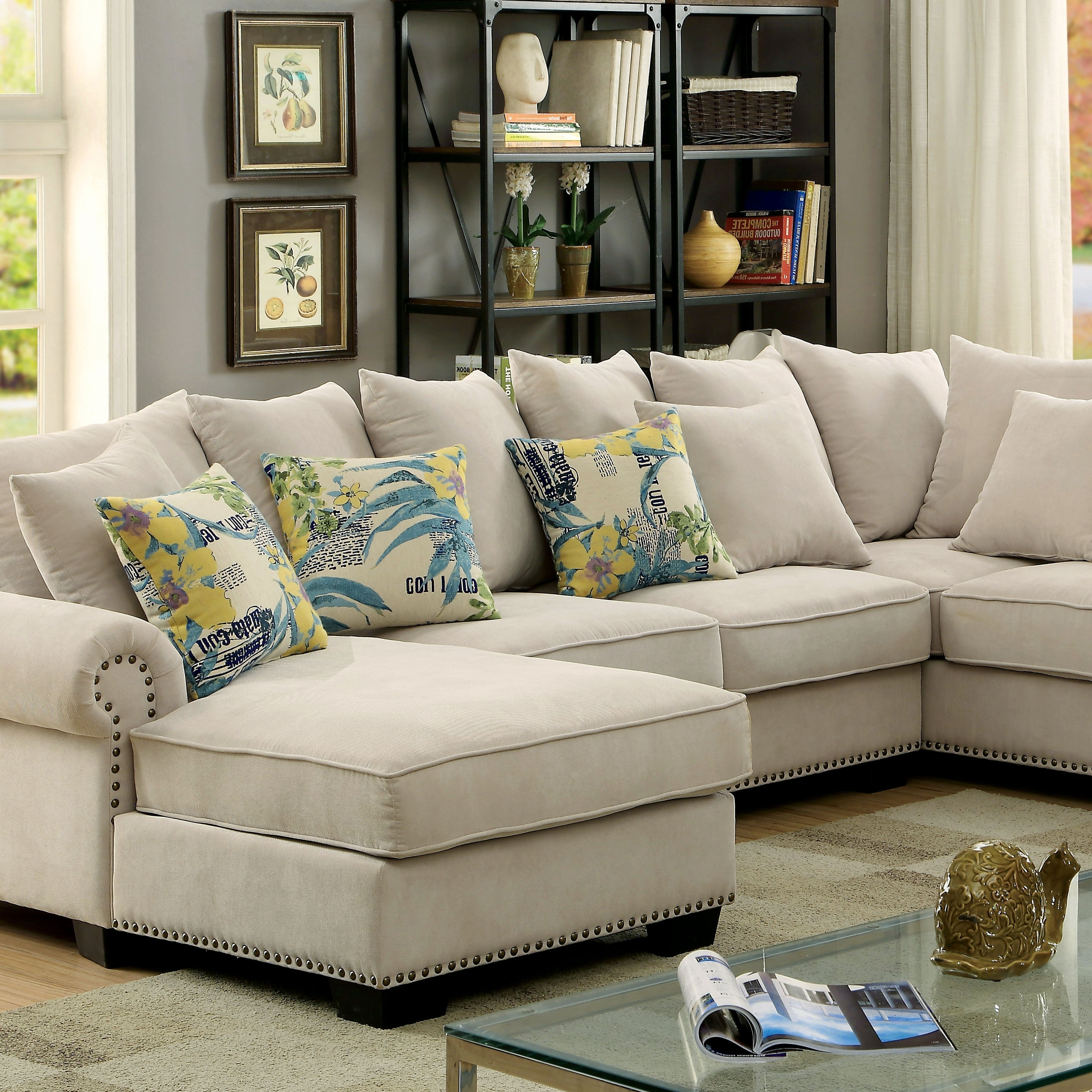 Skyler Transitional Ivory Fabric Sectional Sofa Couch – Shop For With Most Recent Fabric Sectional Sofas (View 13 of 15)